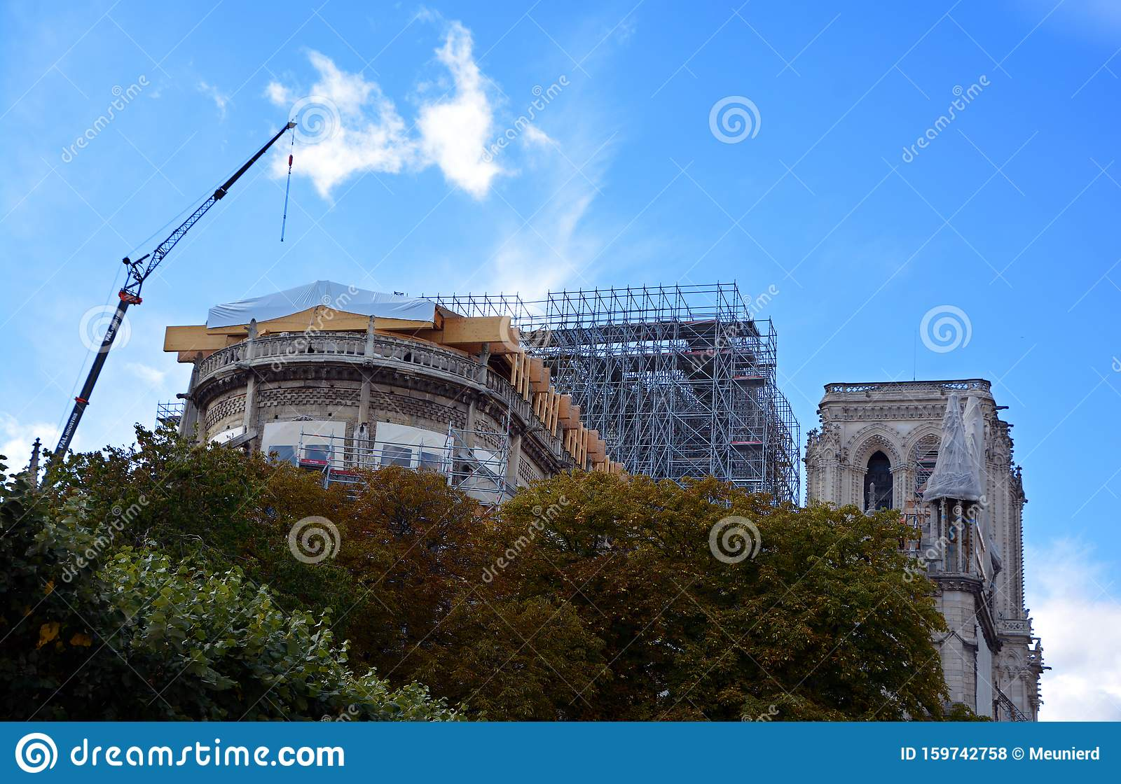 Notre Dame De Paris Reinforcement And Reconstruction Work Editorial Stock Photo Image Of Disaster France 159742758
