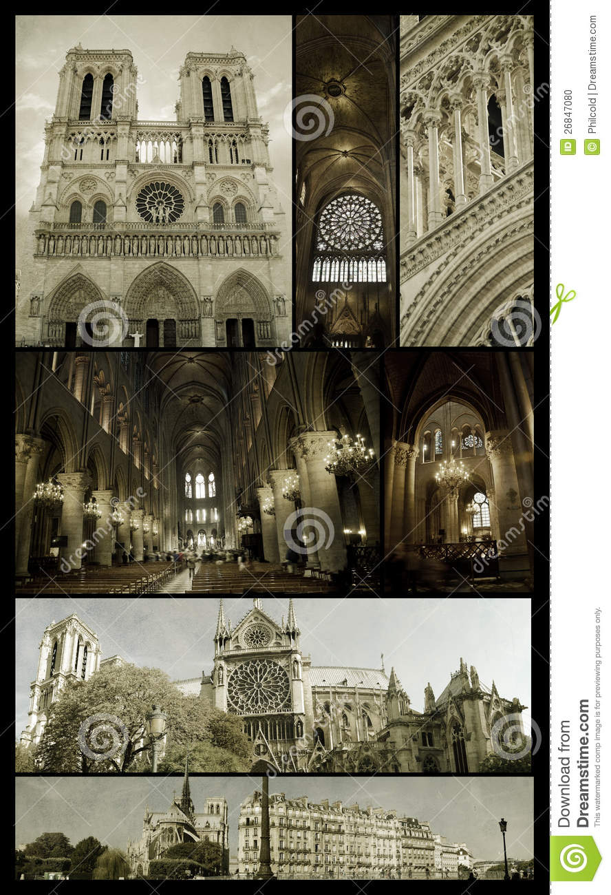 Notre Dame Of Paris On Grunge Stock Photo Image Of