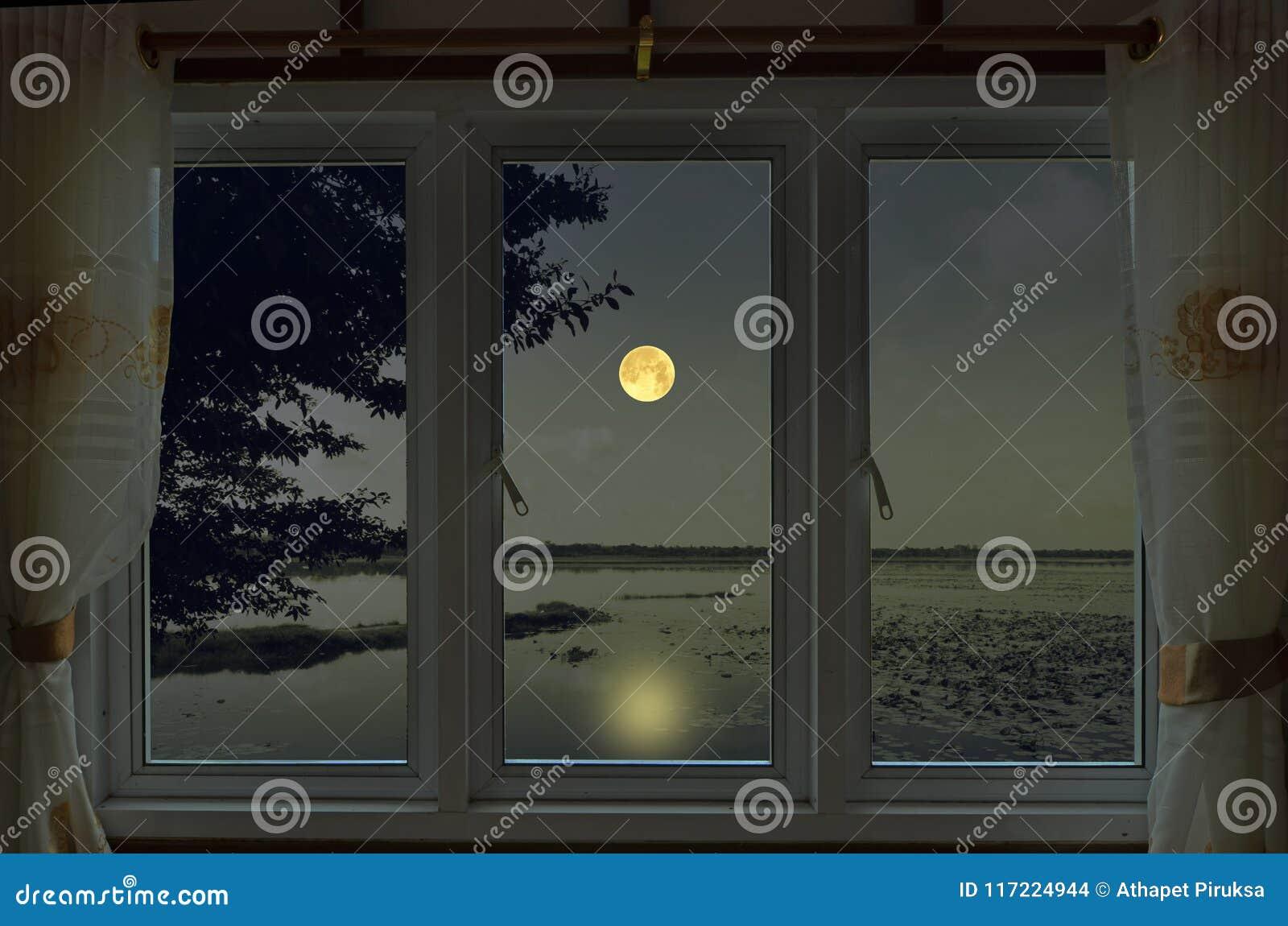 Notte romantica della luna piena nella vista della finestra