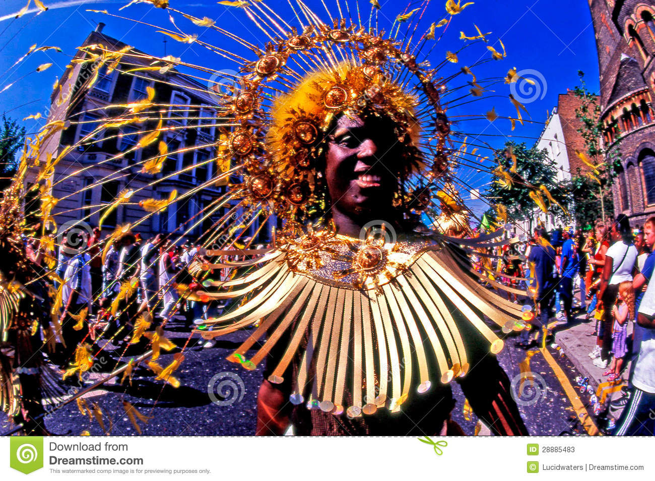 LONDON - AUG 29: Performer takes part in the Notting Hill Carnival on ...