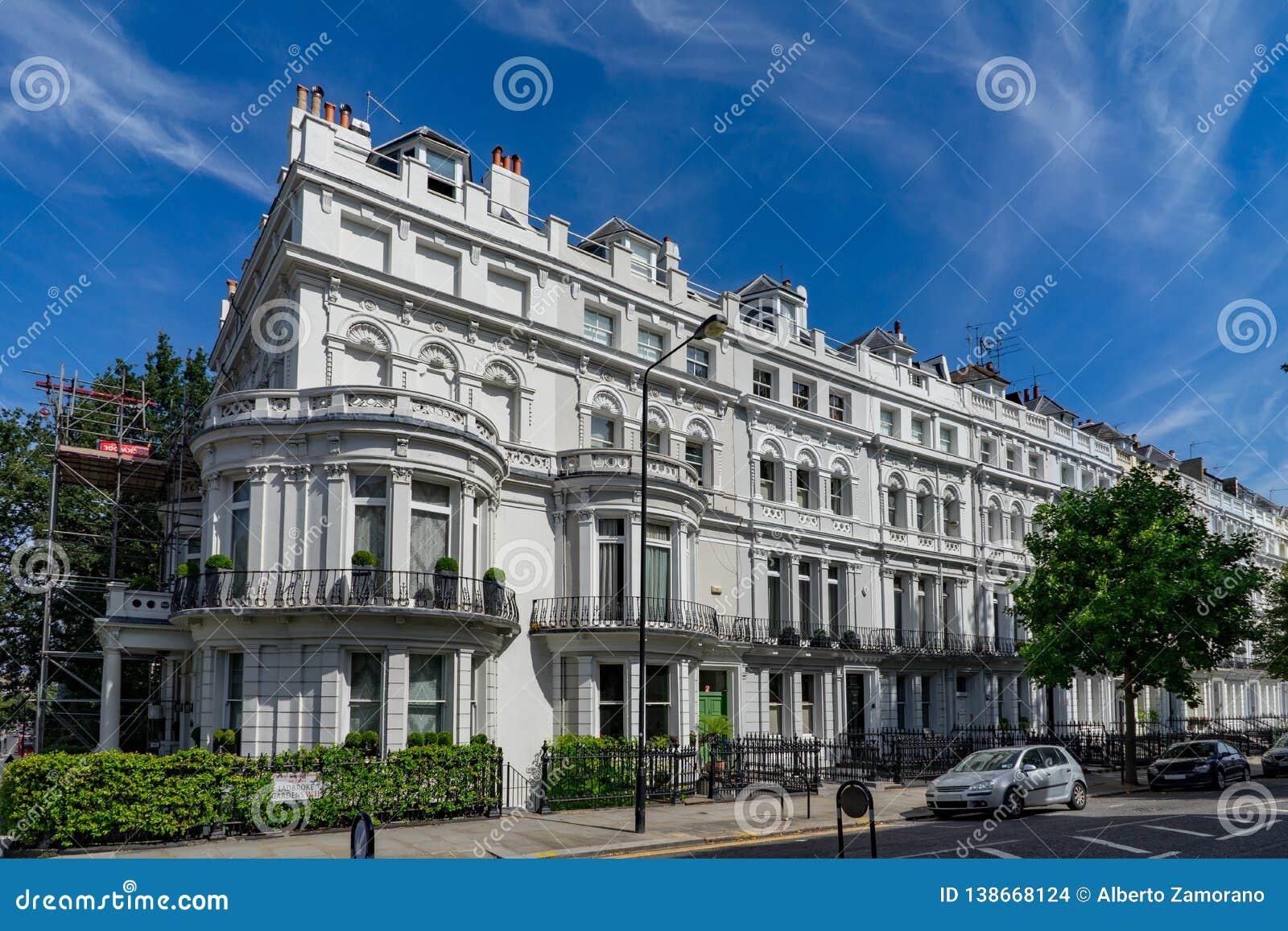 Notting hill houses on neighborhood in London, England, UK
