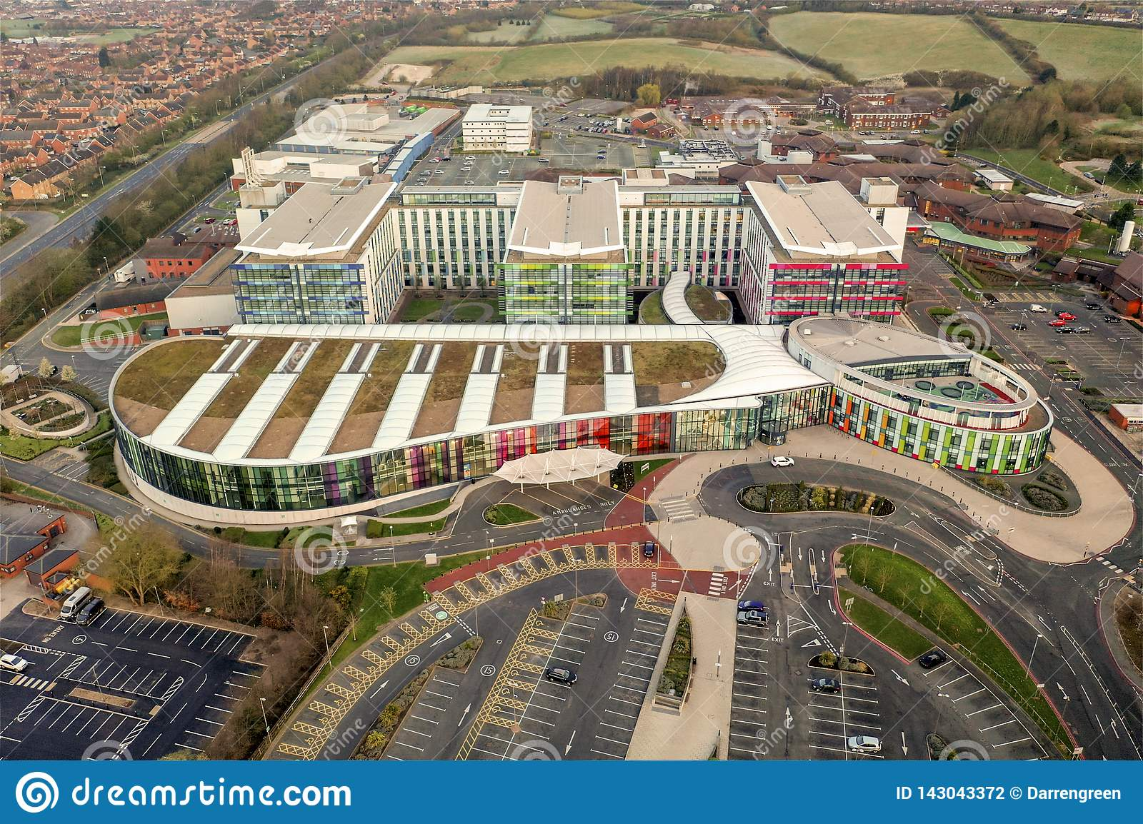 Aerial View of Kings Mill Hospital, Nottingham, England
