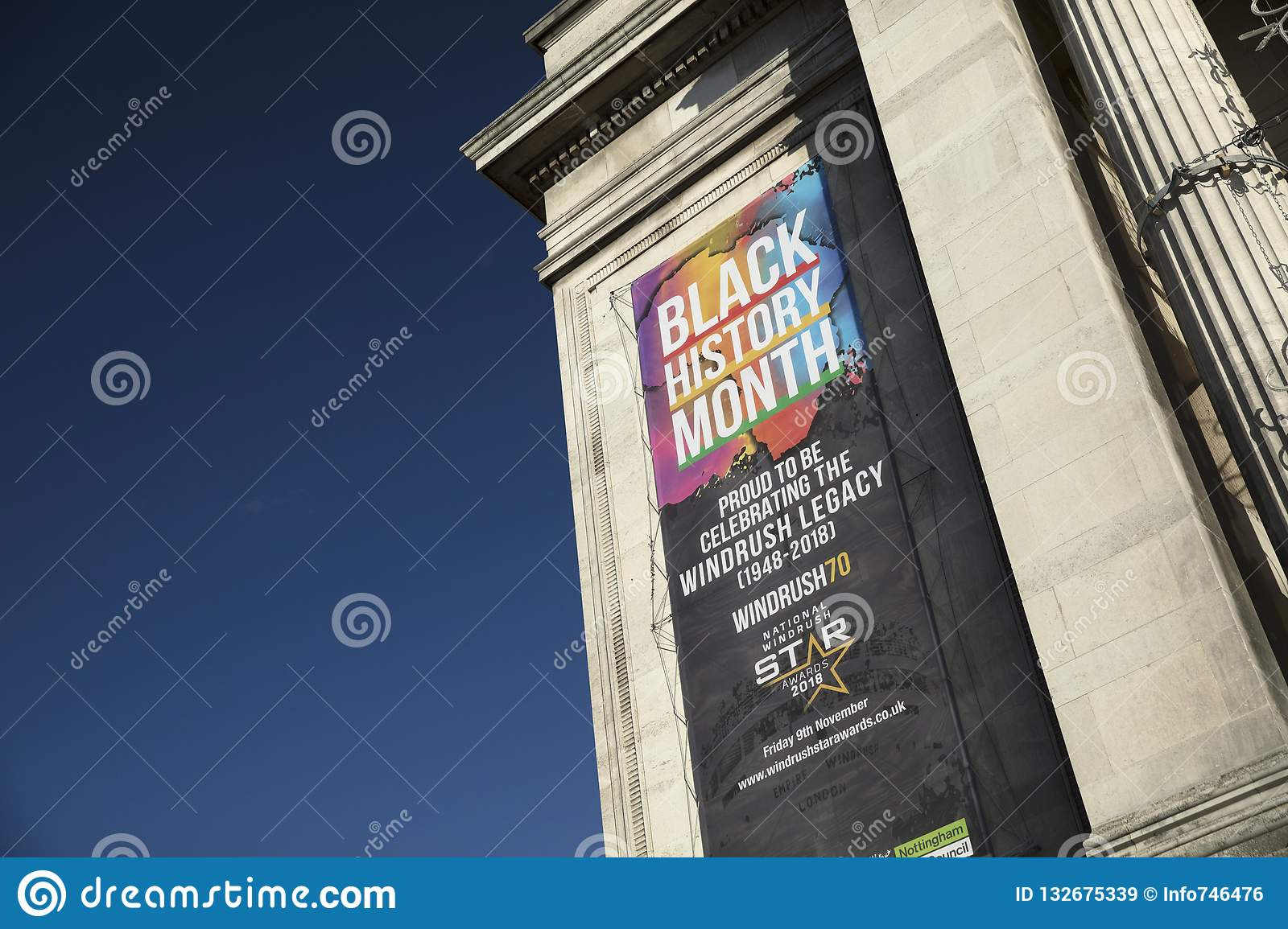Nottingham, Nottinghamshire, UK: October 2018: Banner to Celebrate Black History Month