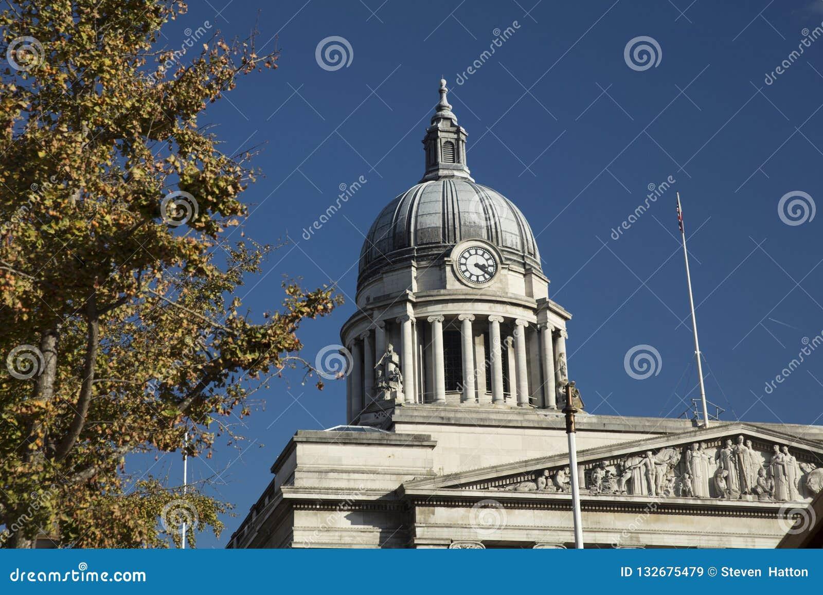 Nottingham, Nottinghamshire, UK: October 2018: Dome of City Hall