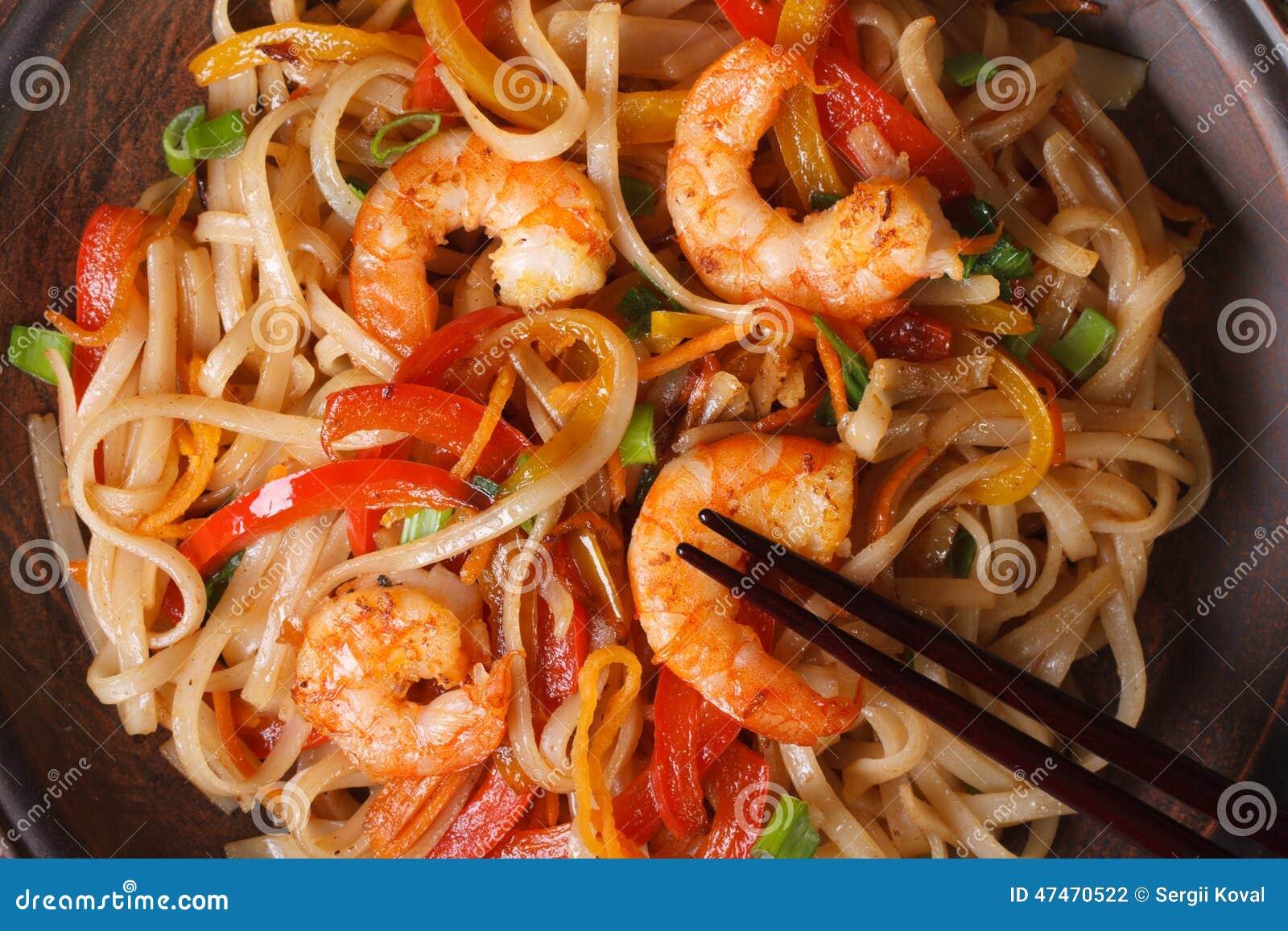 Nouilles de riz avec la crevette et le macro de l gumes horizontaux photo stock image du repas - Absorber l humidite avec du riz ...