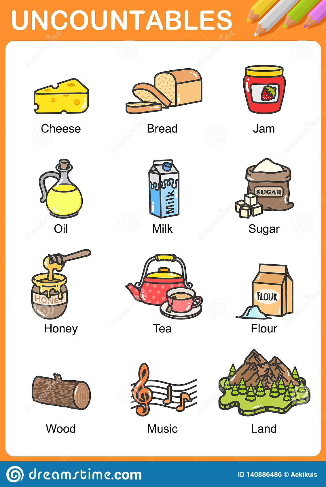 Nouns The Can Be Countable And Uncountable Stock Vector ... on possessive nouns worksheets, types of nouns worksheets, proper nouns worksheets, countable nouns elementary, modified nouns worksheets, countable uncountable nouns english, countable nouns list, nouns and verbs worksheets, count and noncount nouns worksheets, animals nouns worksheets, plural nouns kindergarten worksheets, countable uncountable nouns games, finding common nouns worksheets, mass and count nouns worksheets, countable nouns examples, nouns cut and paste worksheets, gender nouns worksheets,