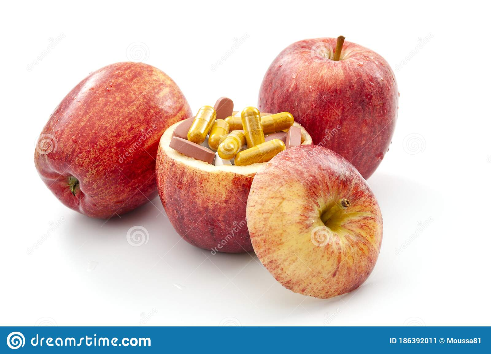 Nourishing Diet And Replenish Vitamins Minerals And Supplements Through Healthy Organic Food Concept With Apples Full Of Vitamin Stock Image Image Of Help Colour 186392011
