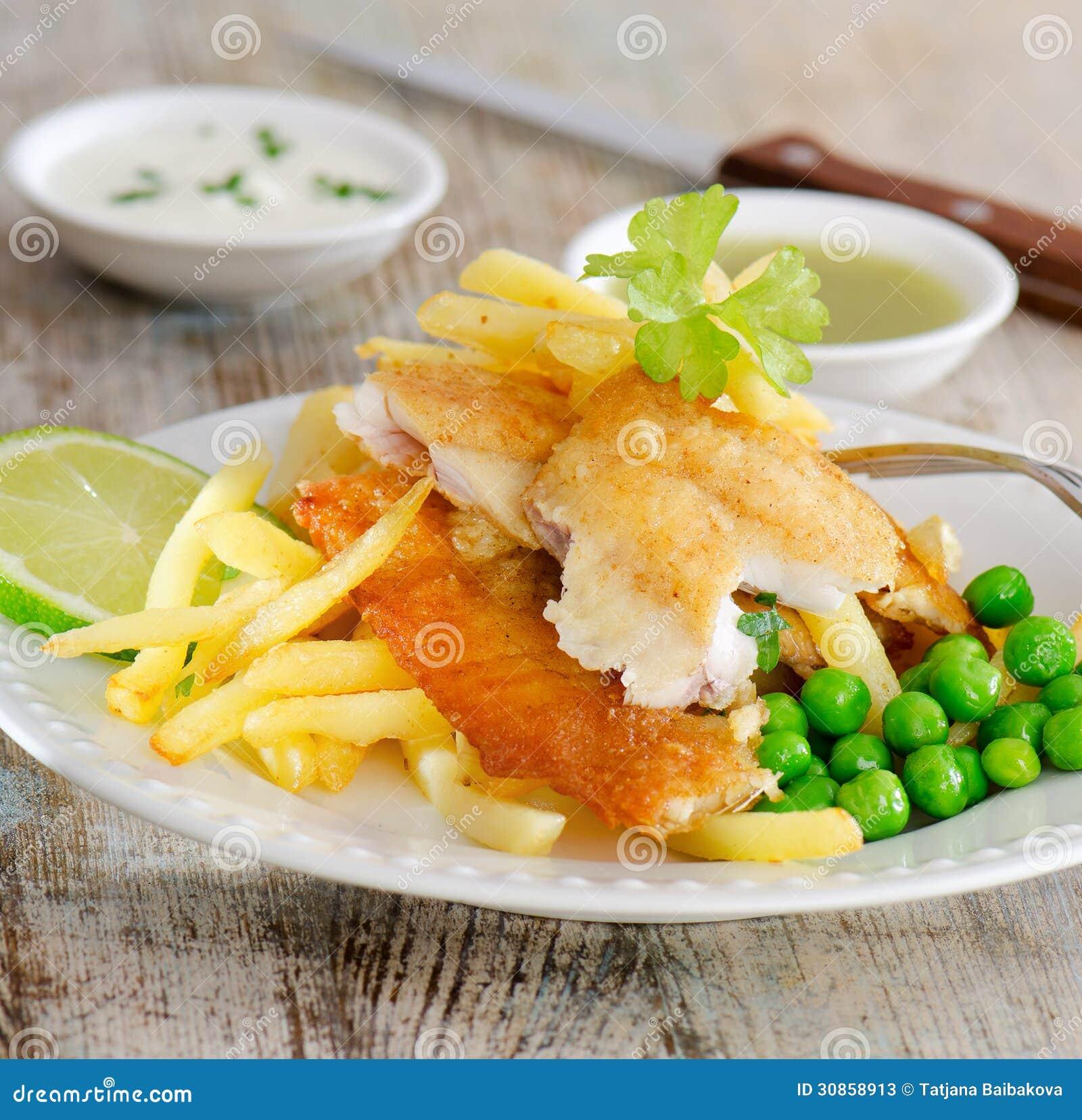 Nourriture britannique poisson frites image stock for Nourriture du poisson
