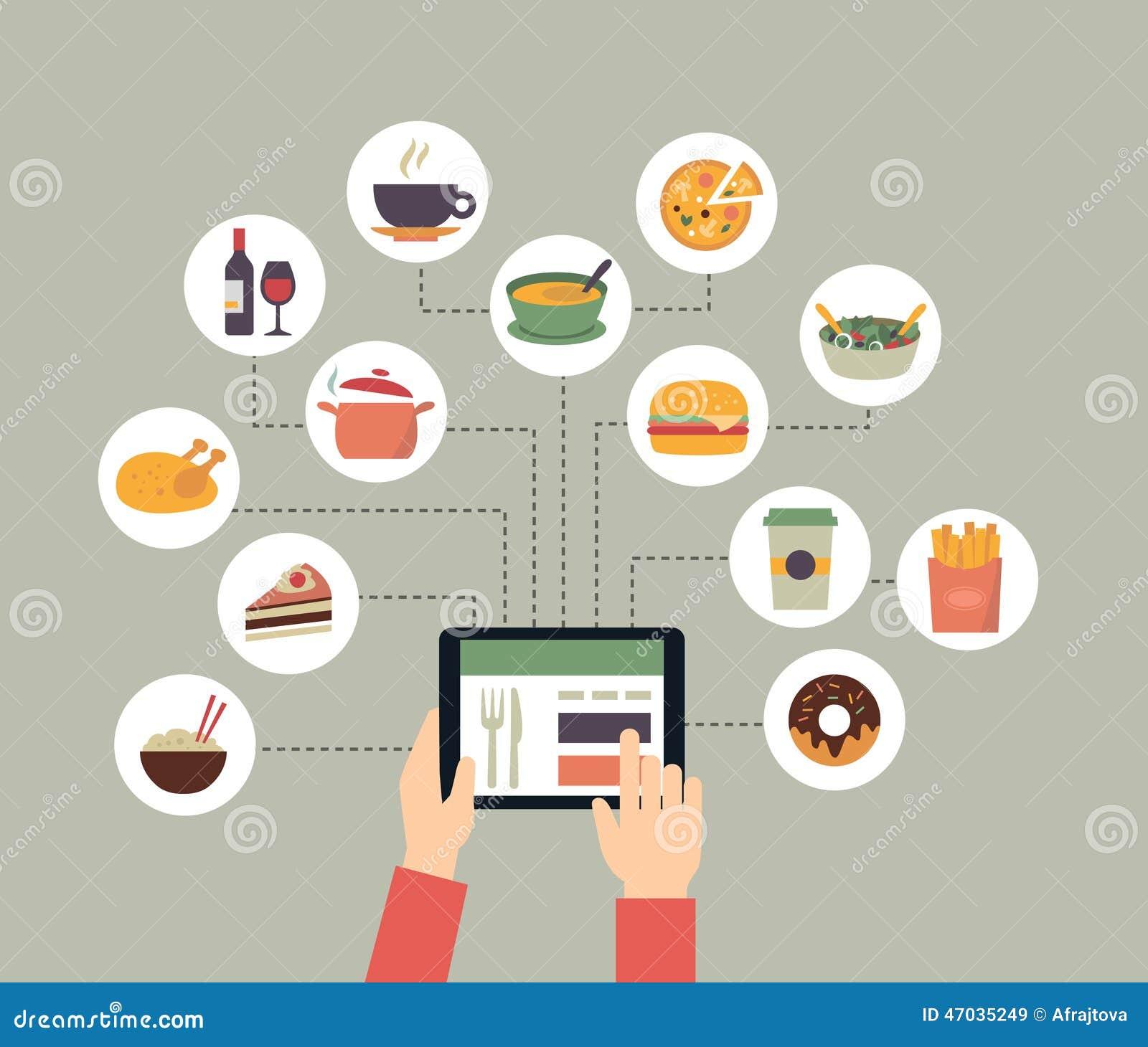 nourriture de commande en ligne illustration de vecteur illustration du carte fritures 47035249. Black Bedroom Furniture Sets. Home Design Ideas