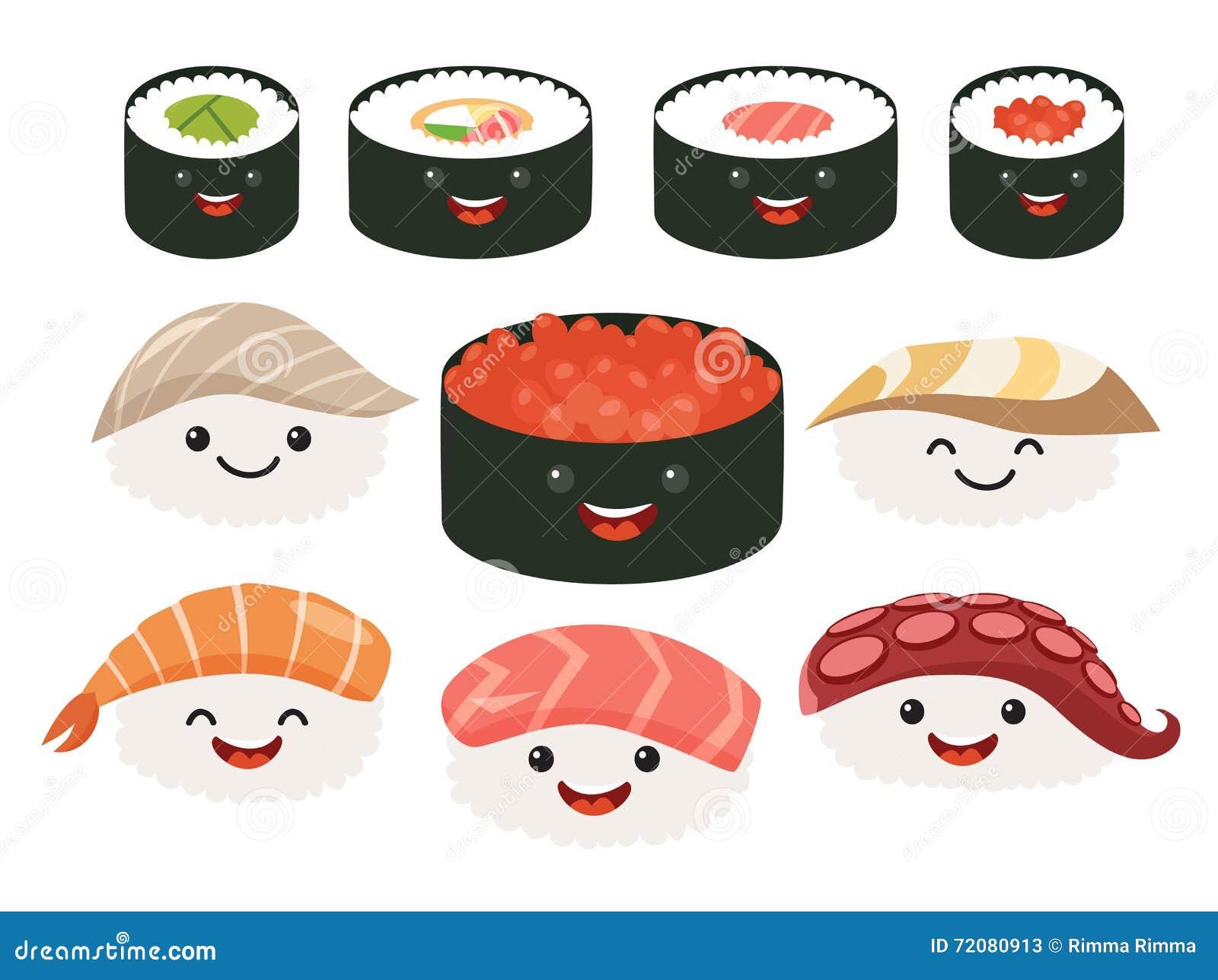 Nourriture de japonais de bande dessin e personnages de for Poisson japonais nourriture