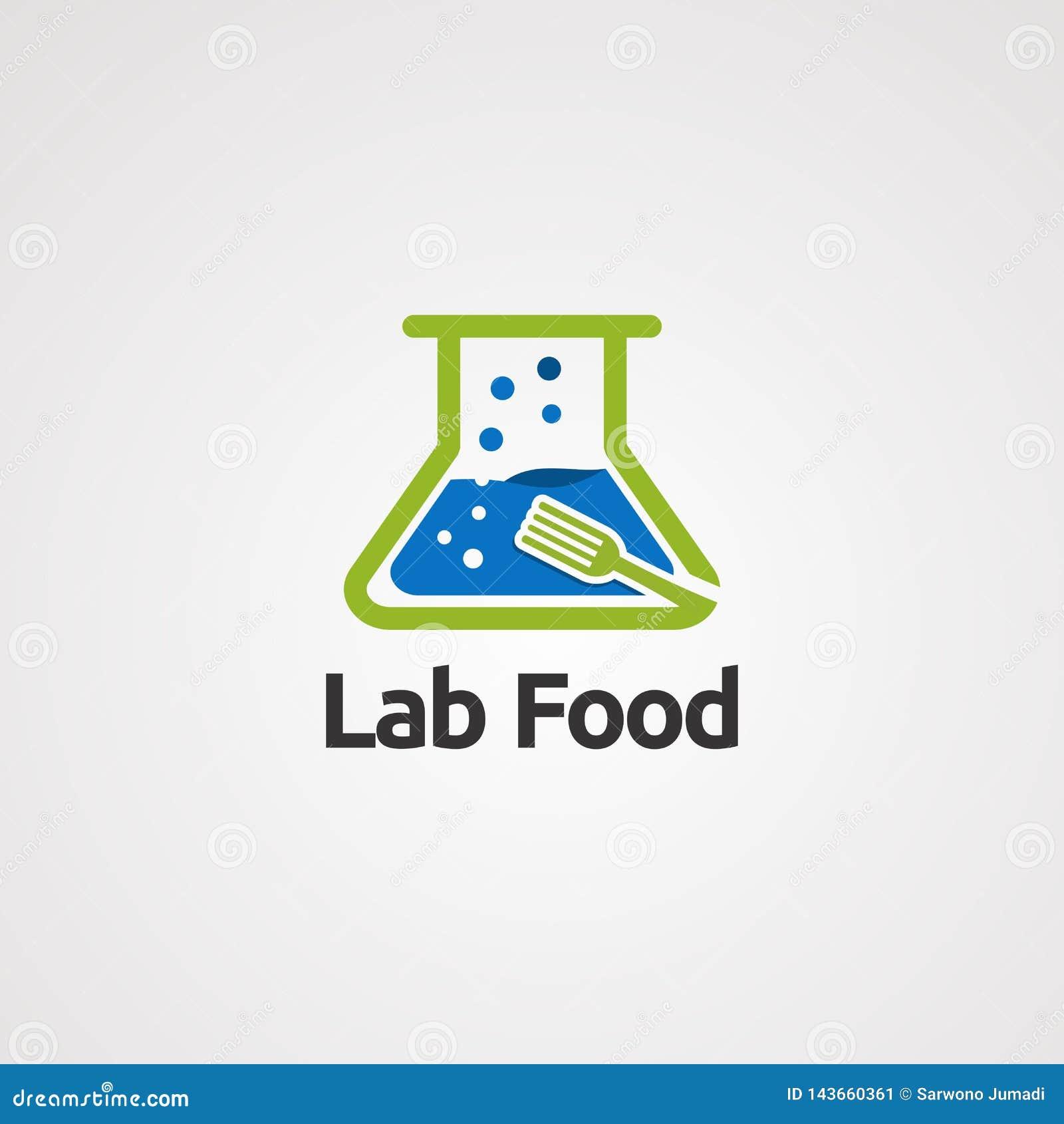 Nourriture de laboratoire avec de l eau bulle et concept de vecteur de logo de fourchette, ic?ne, ?l?ment, et calibre pour la soc