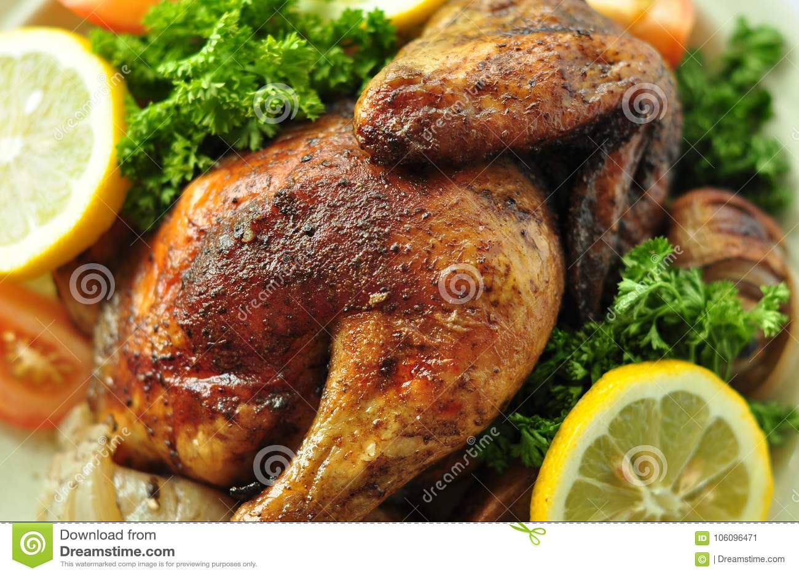 Nourriture occidentale délicieuse rôtie de fond de poulet