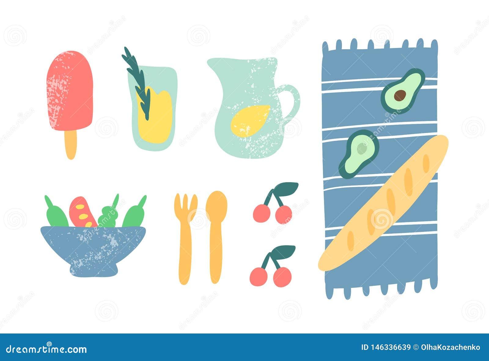 Nourriture pour l illustration de vecteur de pique-nique Crème glacée de griffonnage, limonade, couverture, baguette, salade, cer