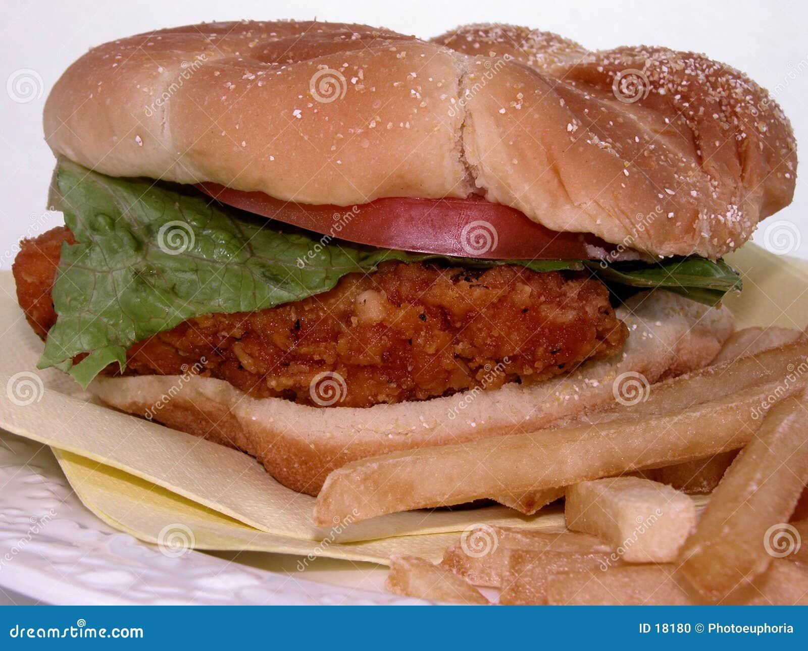 Nourriture : Sandwich et fritures à poulet frit