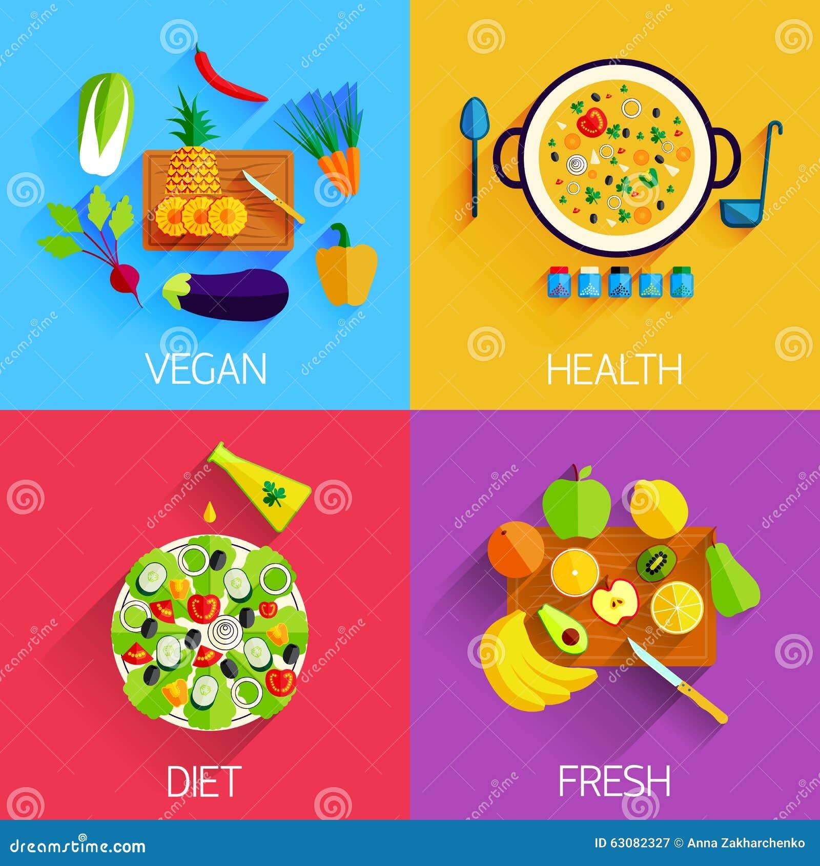 Download Nourriture Végétarienne, Nourriture De Régime, Fraîche Et Saine Et Illustration de Vecteur - Illustration du plat, banane: 63082327
