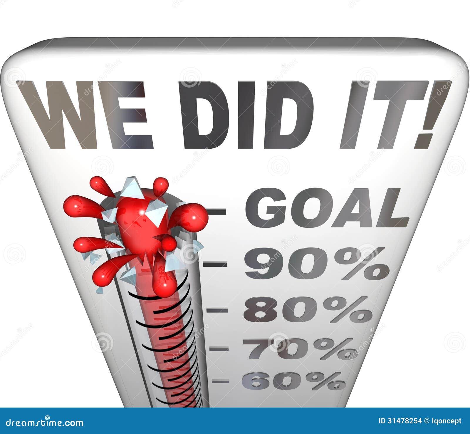 Nous l avons fait que le but de thermomètre a atteint le contrôle de 100 pour cent