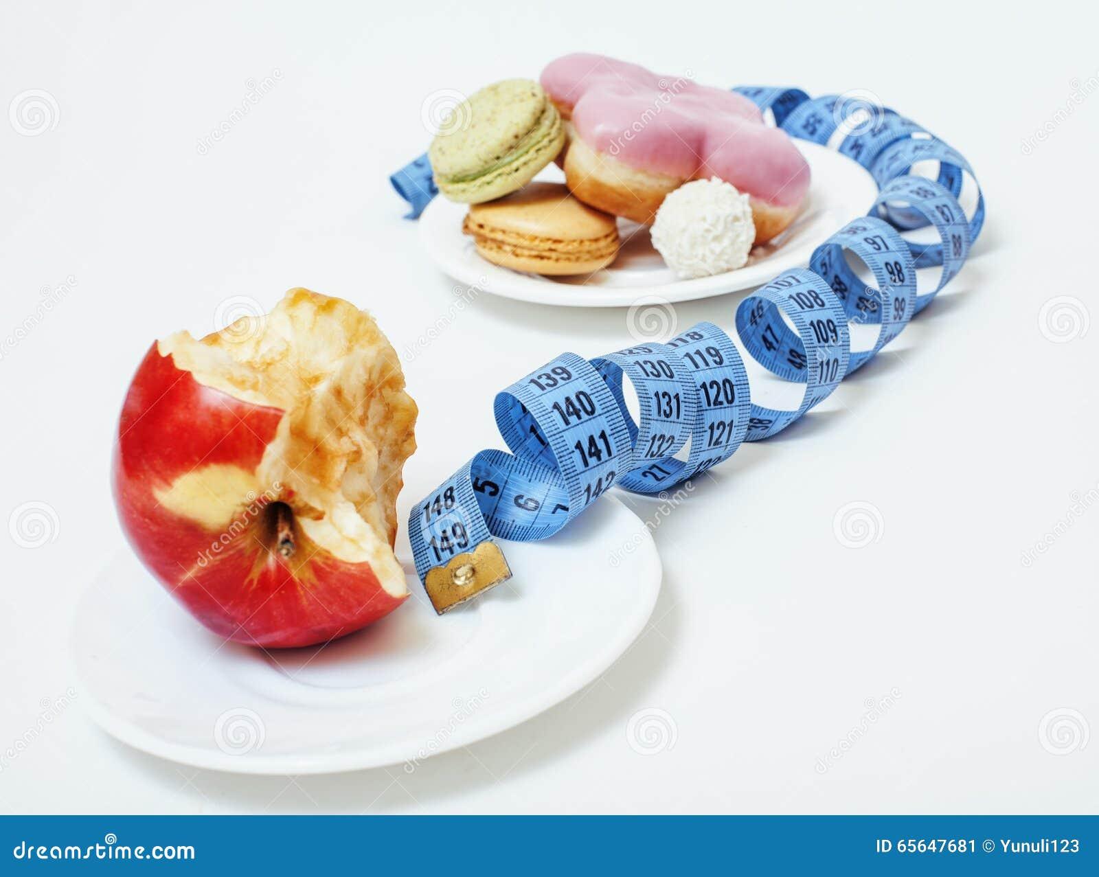 Nouveau concept de régime, forme de connexion de question de bande de mesure entre la pomme rouge et beignet d isolement sur le b