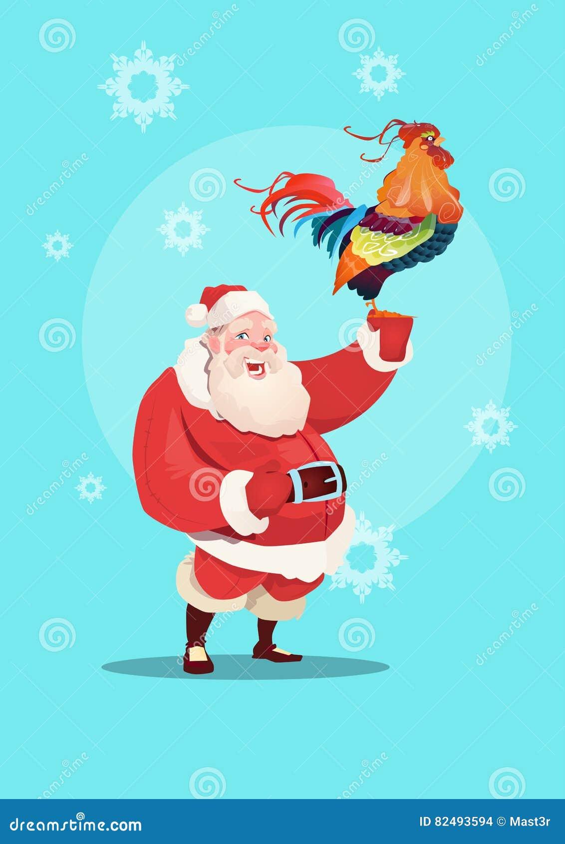 Nouveau coq heureux de 2017 ans avec Santa Clause Asian Horoscope Symbol