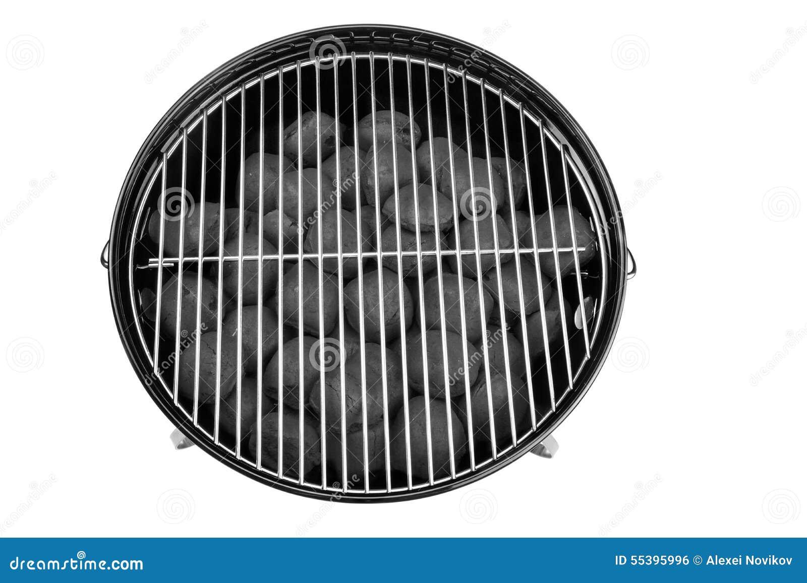 Nouveau gril propre vide de bouilloire de BBQ avec des briquettes Isolat de charbon de bois