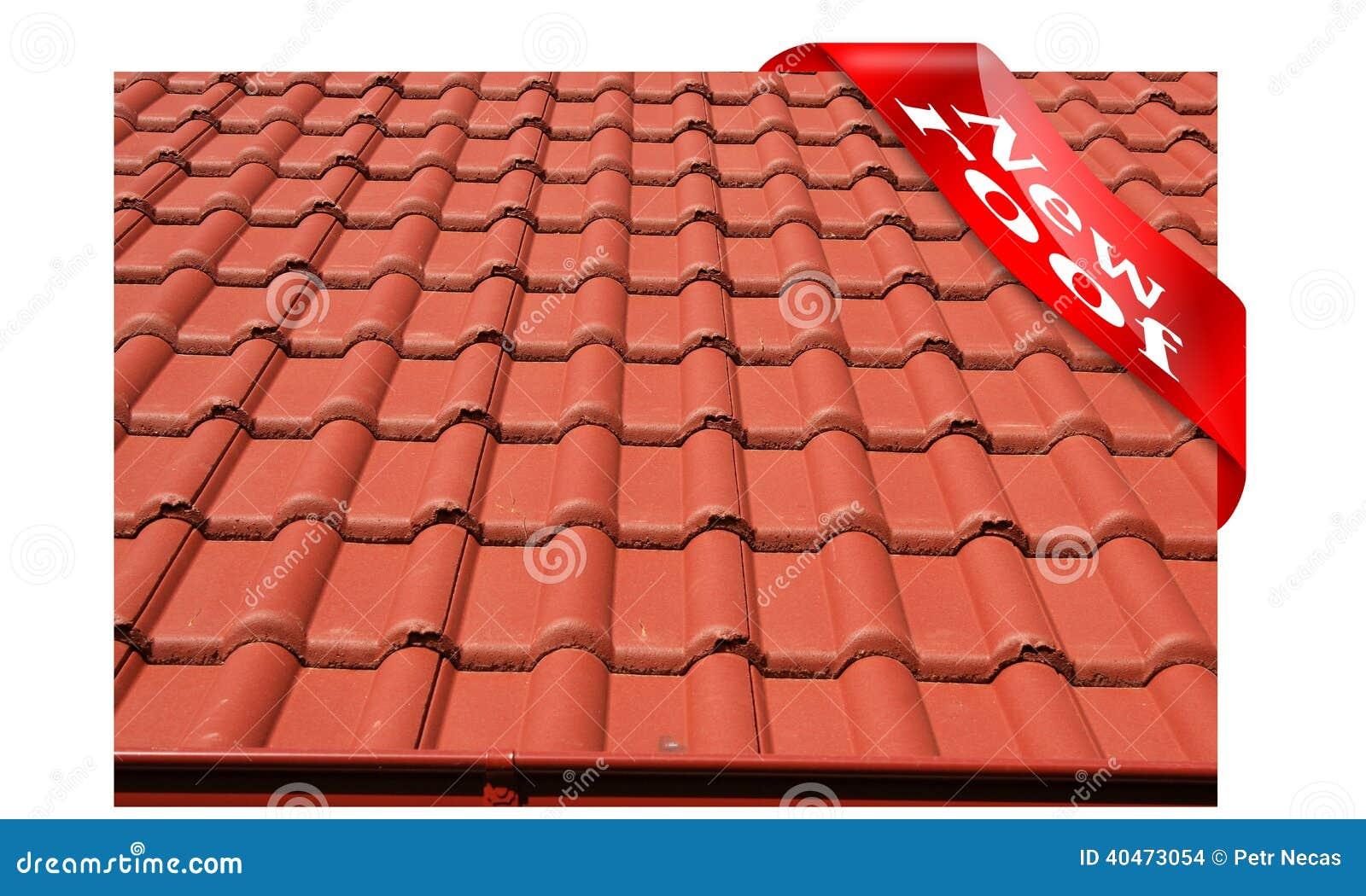 nouveau toit couvert de toiture en b ton rouge photo stock image 40473054. Black Bedroom Furniture Sets. Home Design Ideas