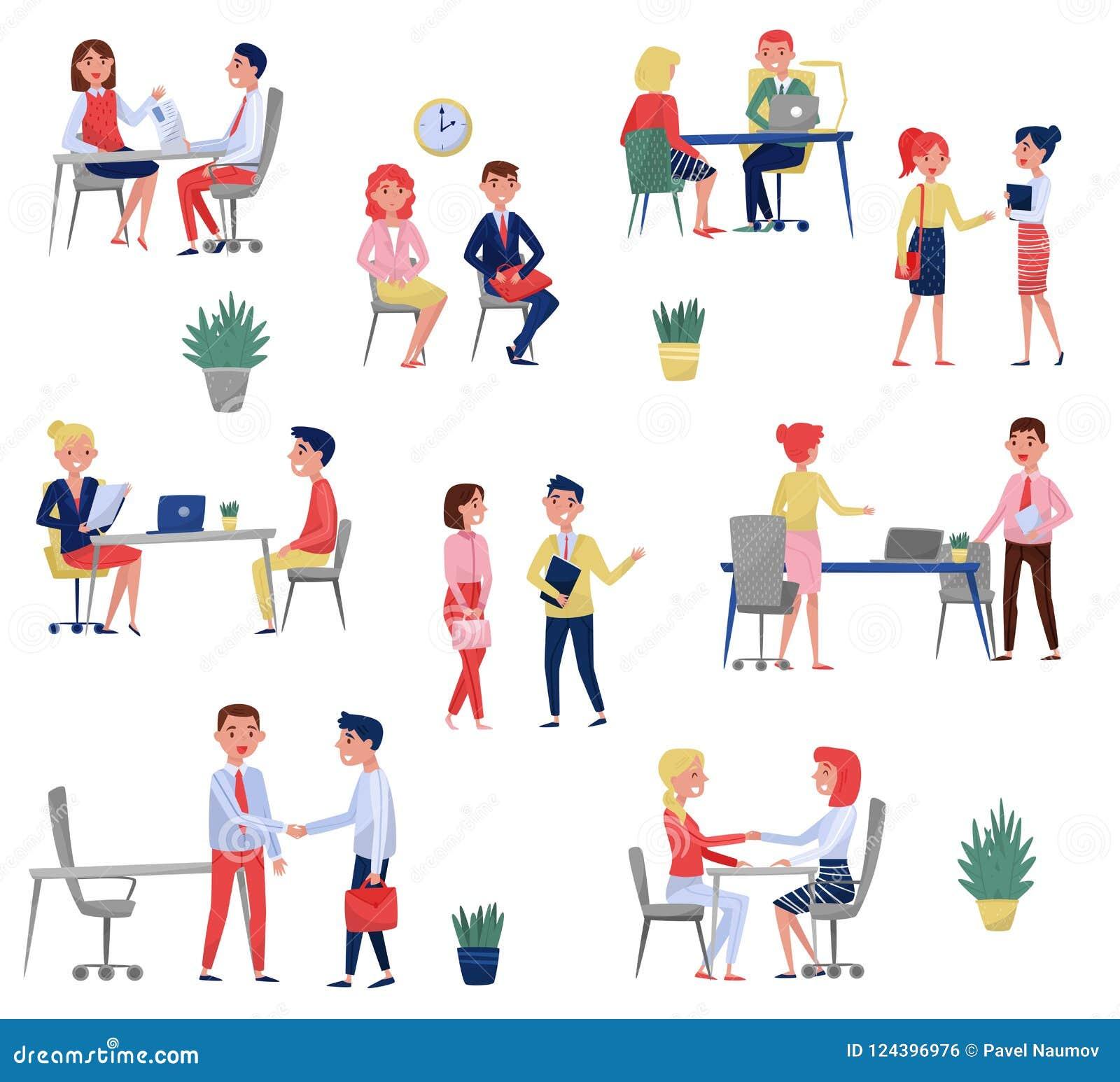 Nouveaux demandeurs des employés ayant l entrevue d emploi avec les spécialistes en heure réglés, illustrations de vecteur de con
