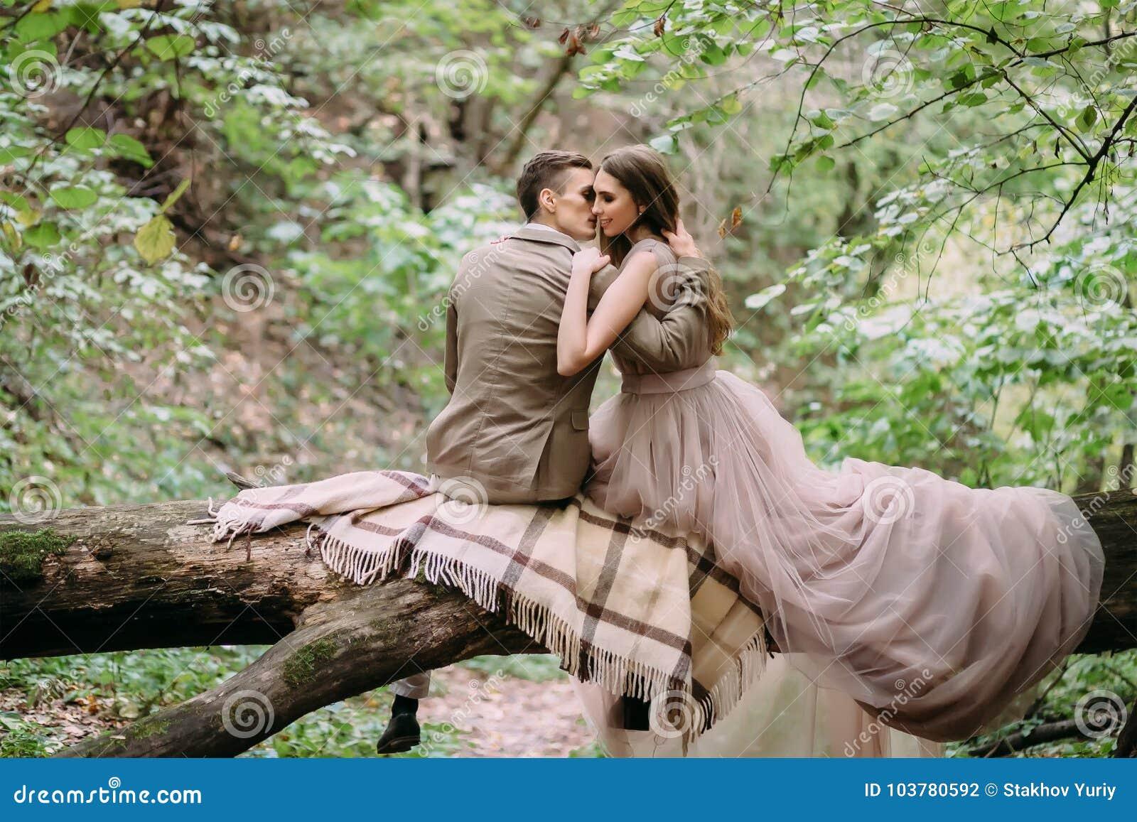 Nouveaux mariés élégants ayant le repos sur un plaid dans la forêt que les jeunes mariés se reposent sur la nature d identifiez-v