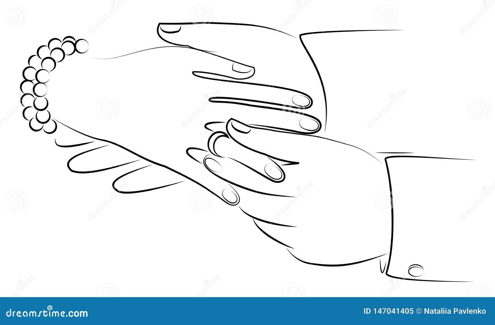 Nouveaux mari?s de mains au mariage Un homme met un anneau l ?pousant sur le doigt de la fille s Illustration de vecteur