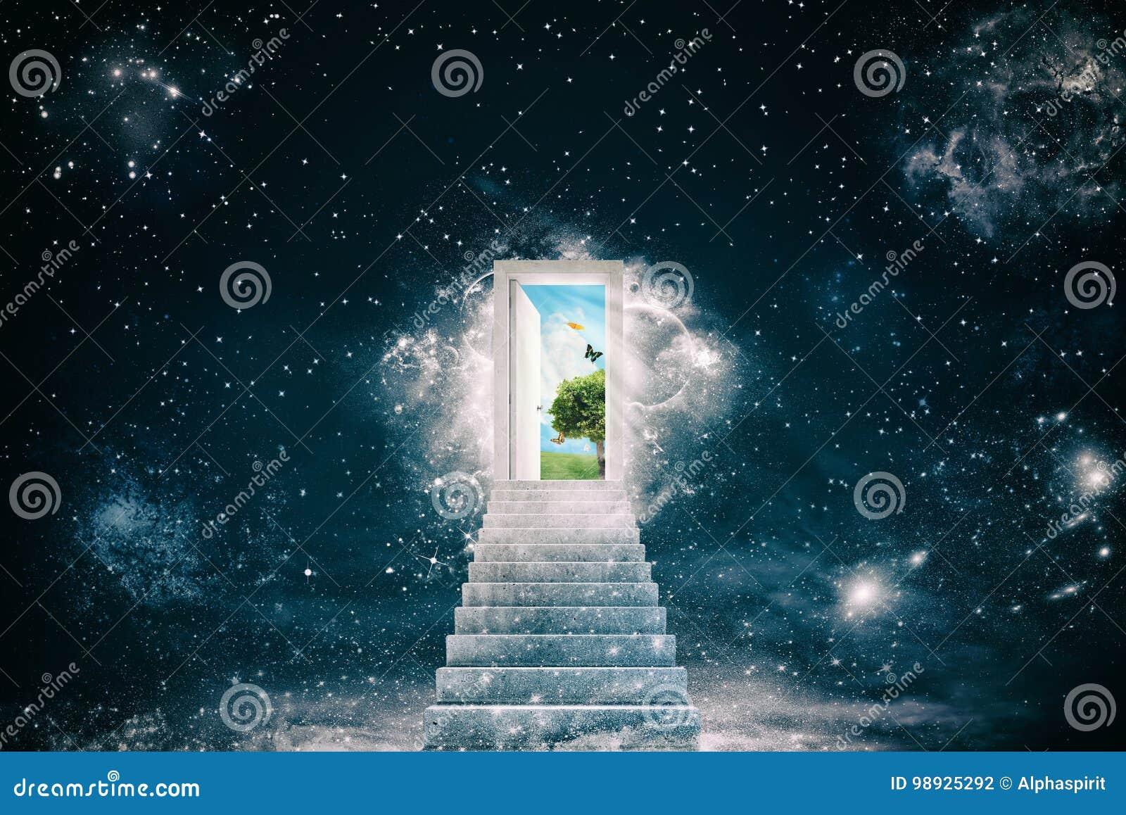 Nouveaux mondes verts derrière la porte