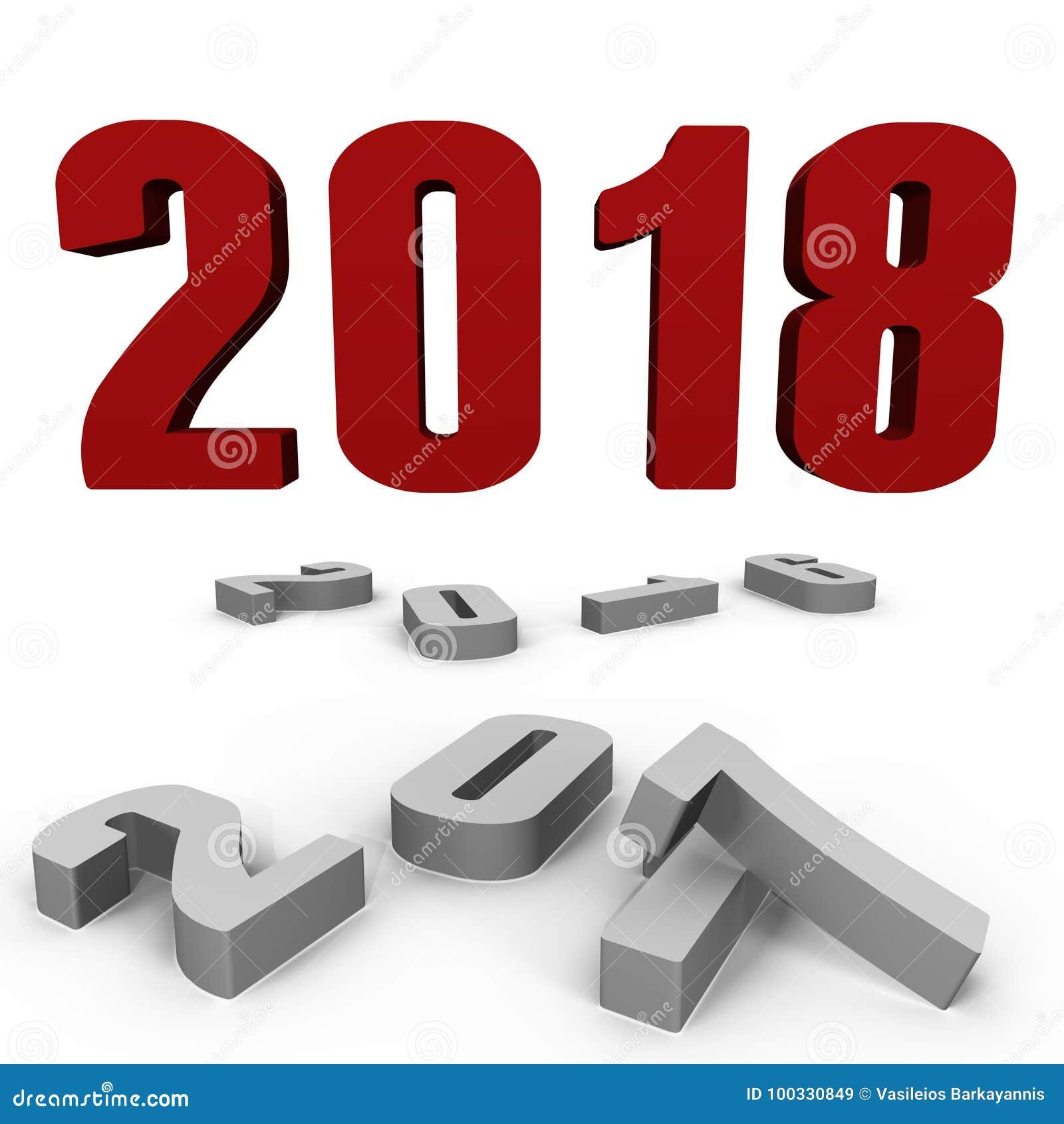 Nouvelle année 2018 au-dessus de après ceux - une image 3d