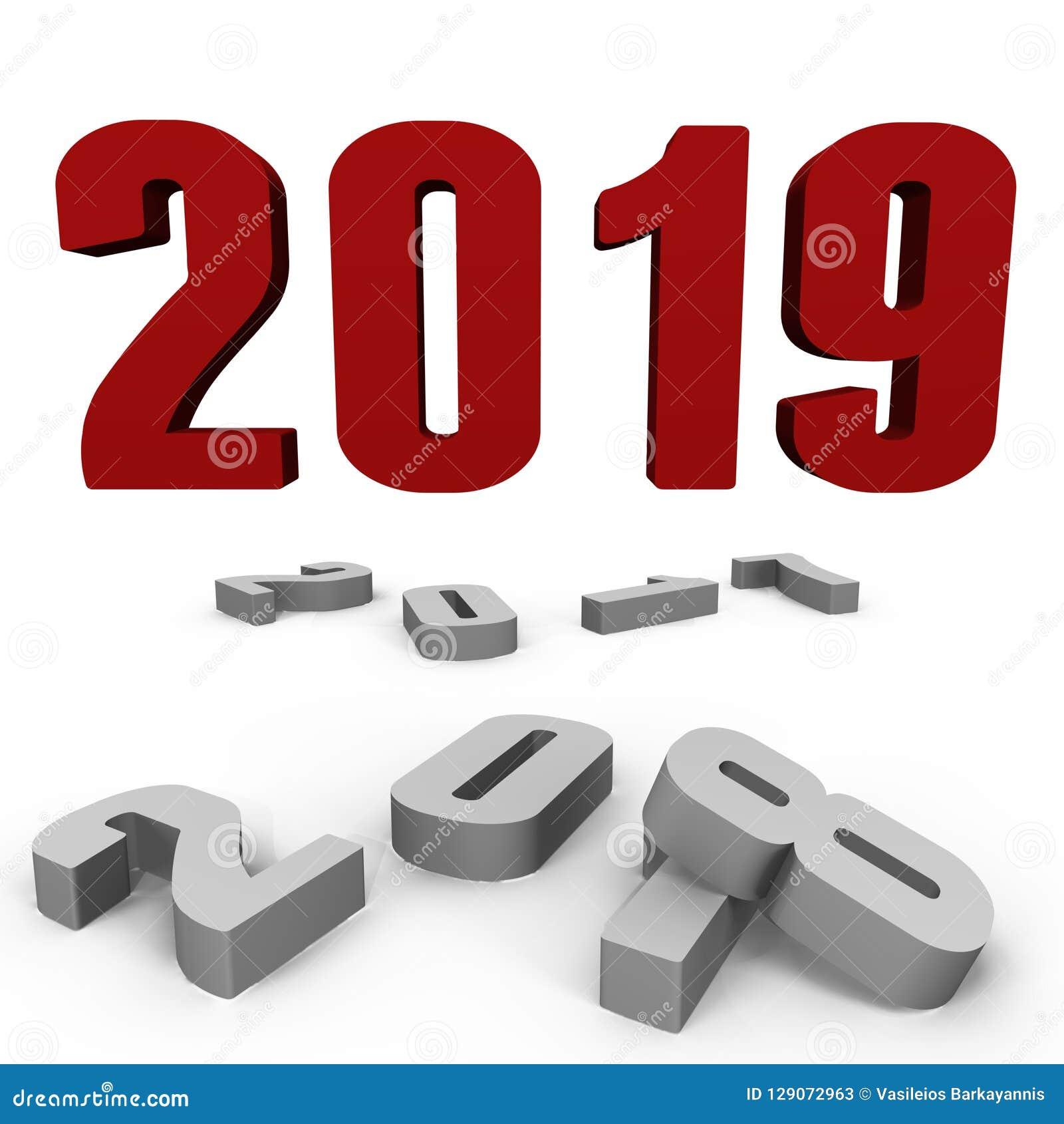 Nouvelle année 2019 au-dessus de après ceux - une image 3d