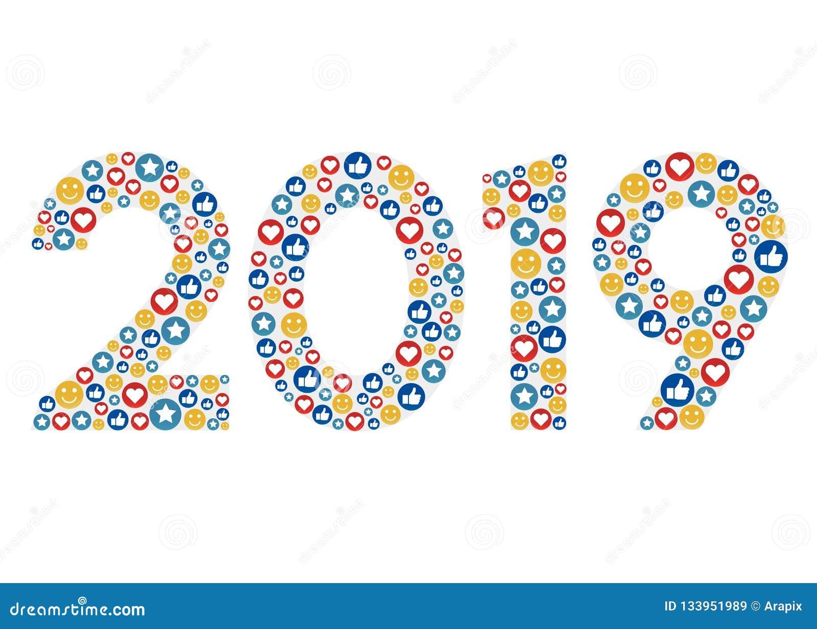 Nouvelle année 2019 avec les icônes sociales d émotion