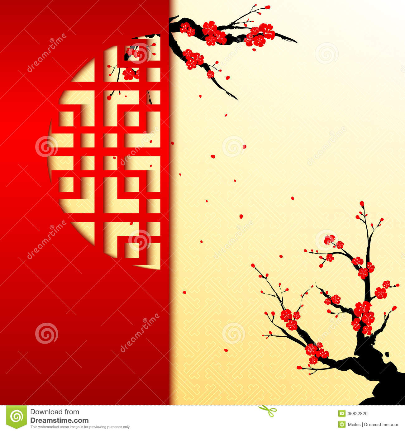 Nouvelle année chinoise Cherry Blossom Background