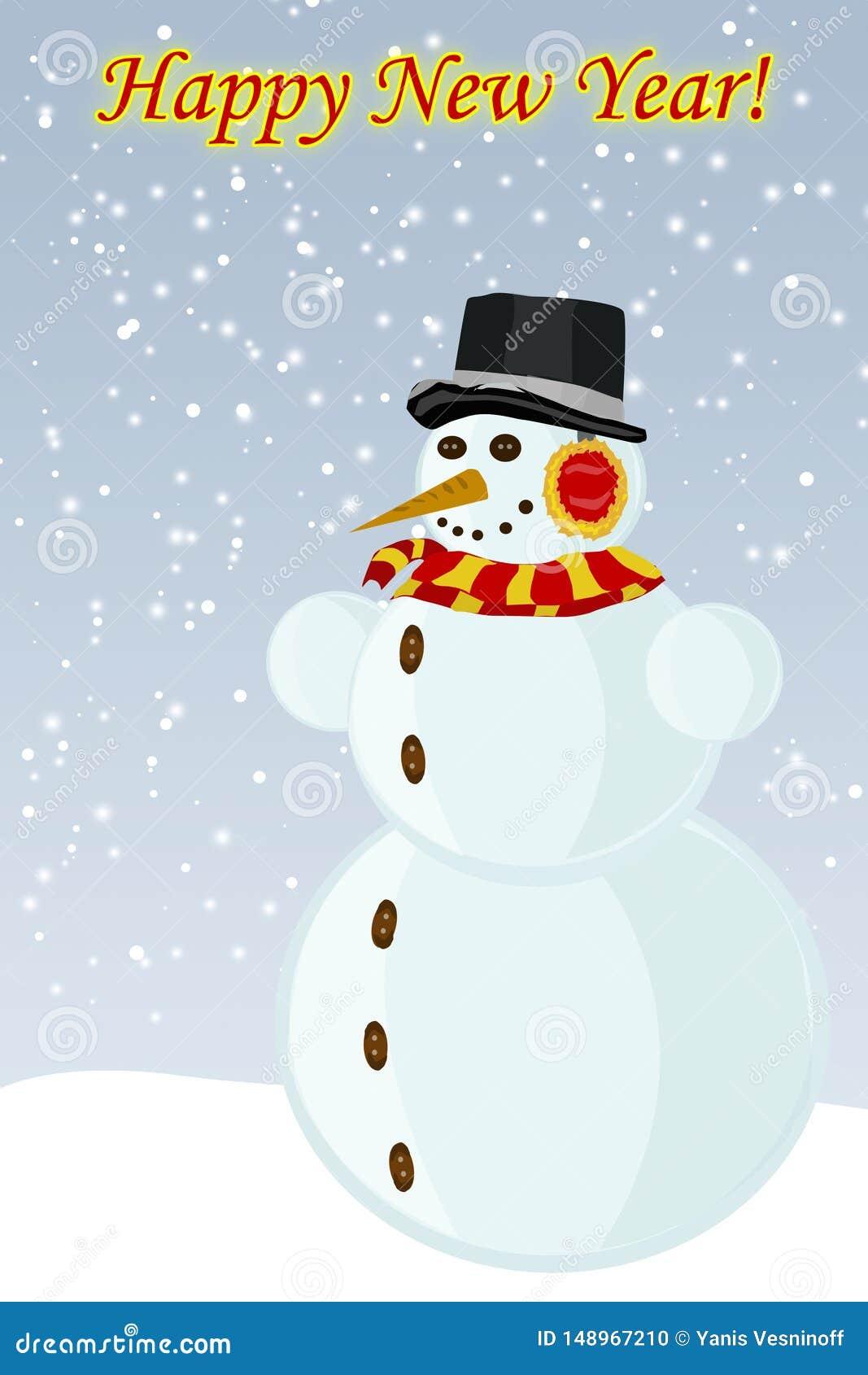 Nouvelle année de bonhomme de neige, l image de vecteur