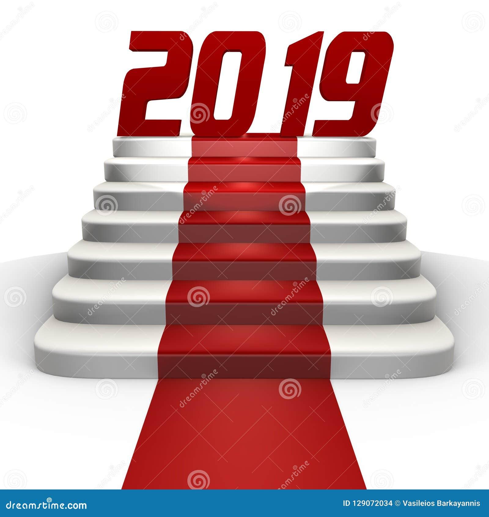 Nouvelle année 2019 sur un tapis rouge - une image 3d