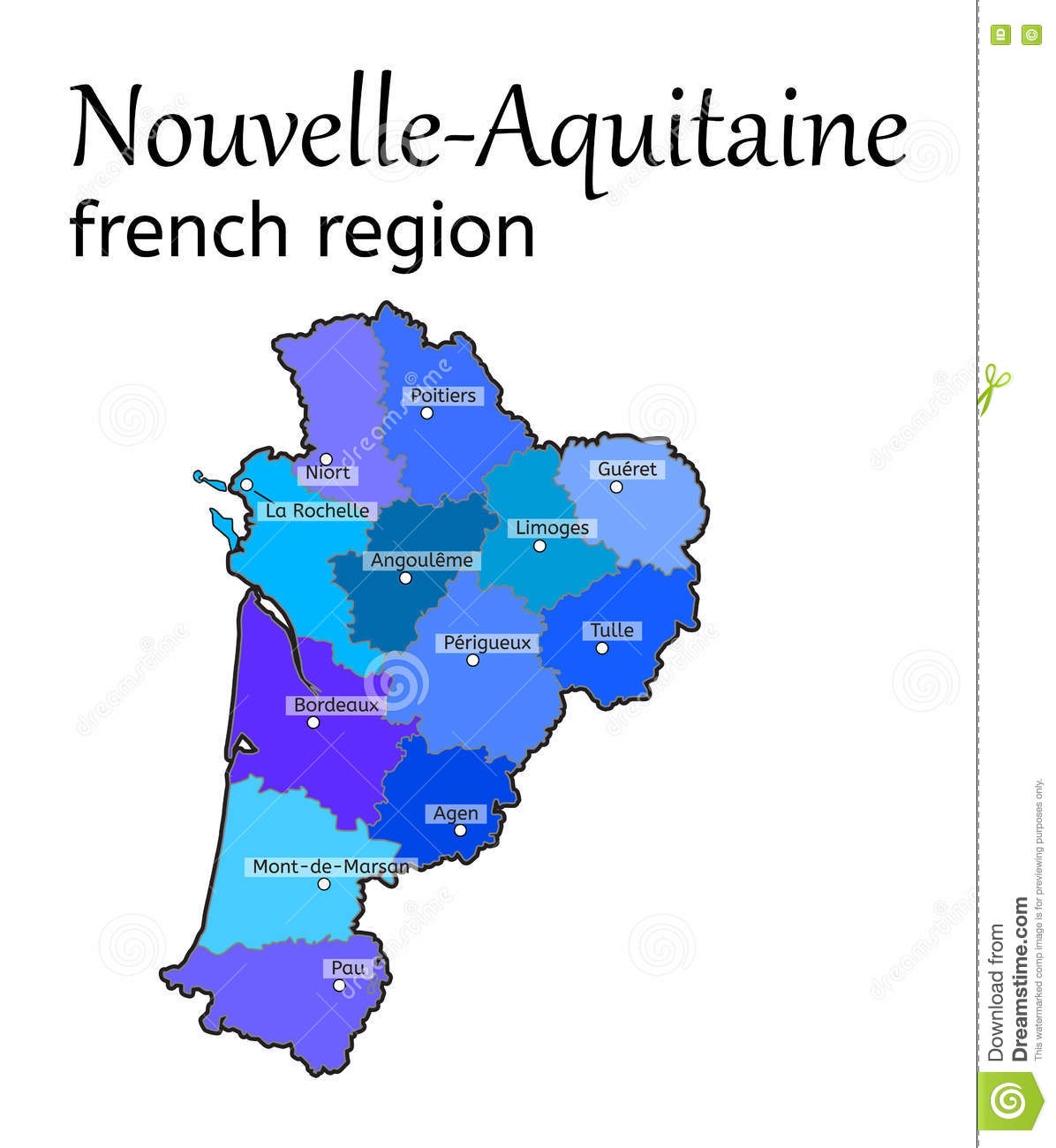 NouvelleAquitaine French Region Map Stock Vector Illustration of