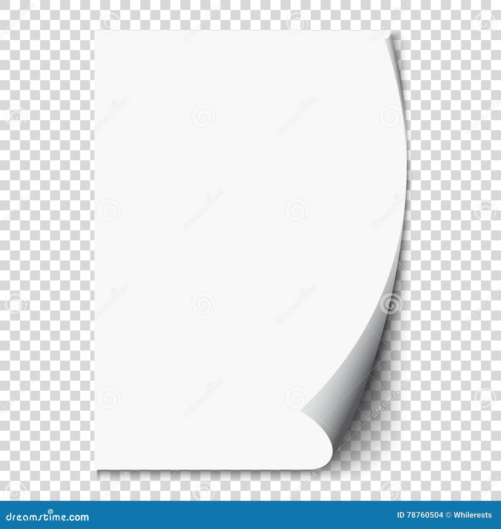 Nouvelle boucle de page blanc sur le papier de page blanche Réaliste videz la page pliée Autocollant transparent de conception Ve