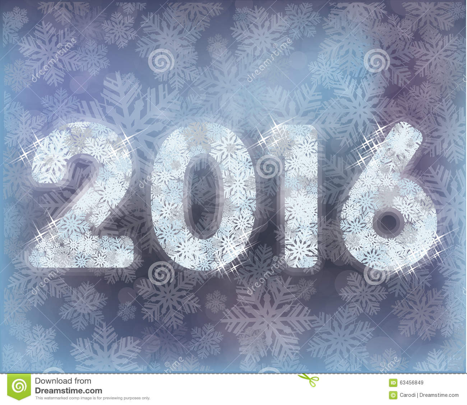 Nouvelle carte heureuse de neige de 2016 ans, vecteur