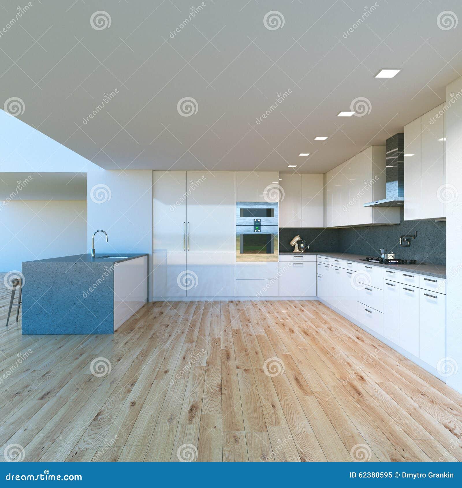 Cuisine de luxe blanche dans une nouvelle maison moderne. photo ...