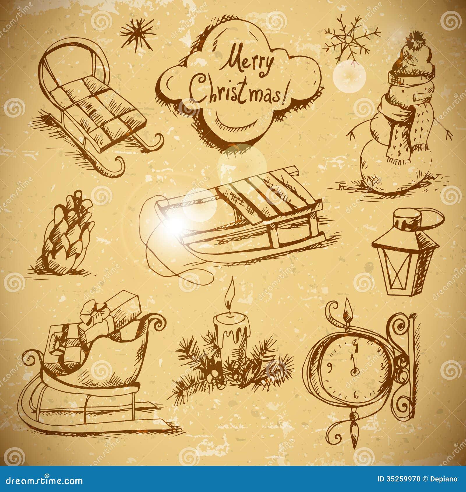 Nouvelle ensemble tiré par la main d année et de Noël
