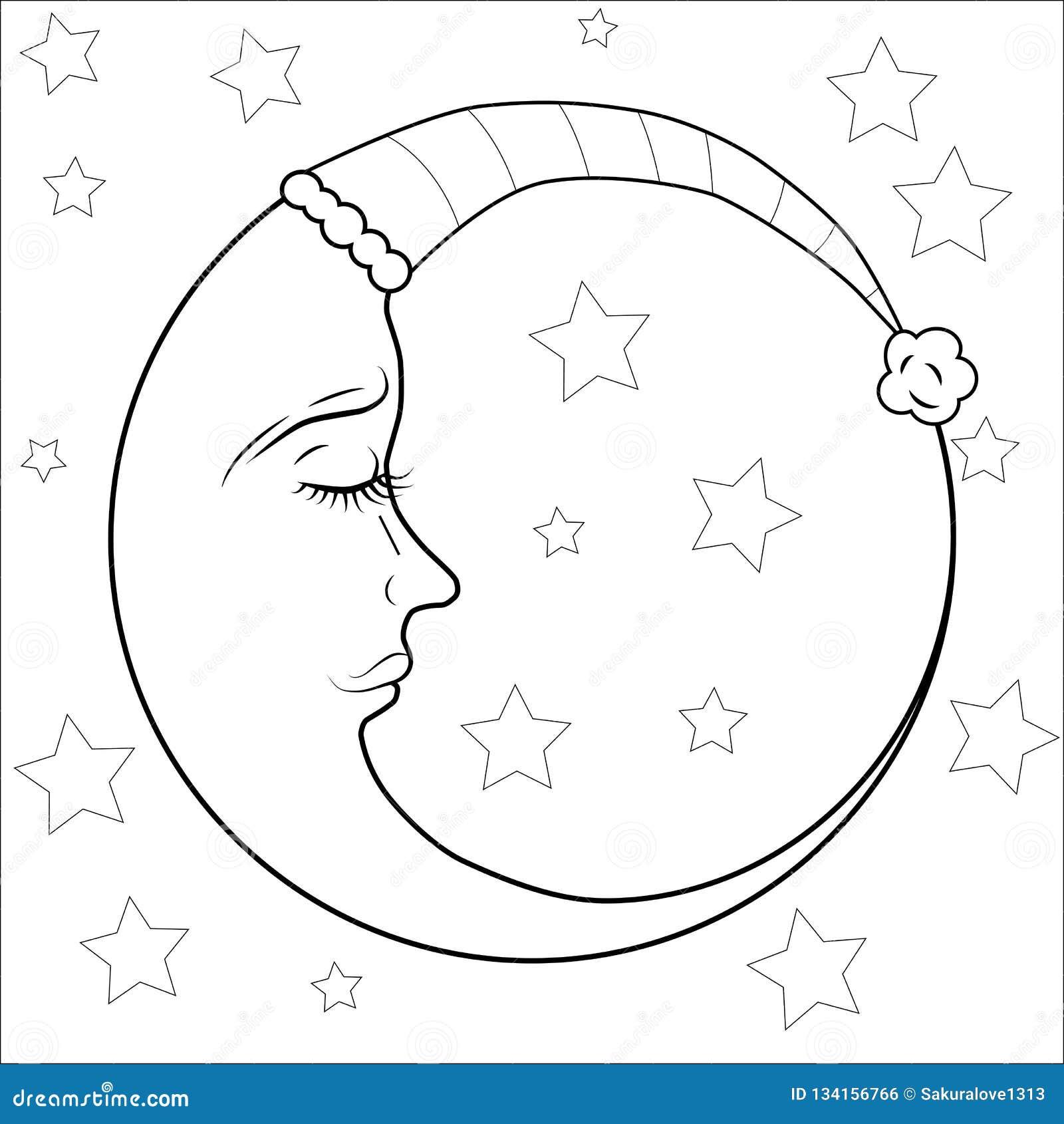 Nouvelle Lune Et étoile Pour L Anti Page De Coloration D