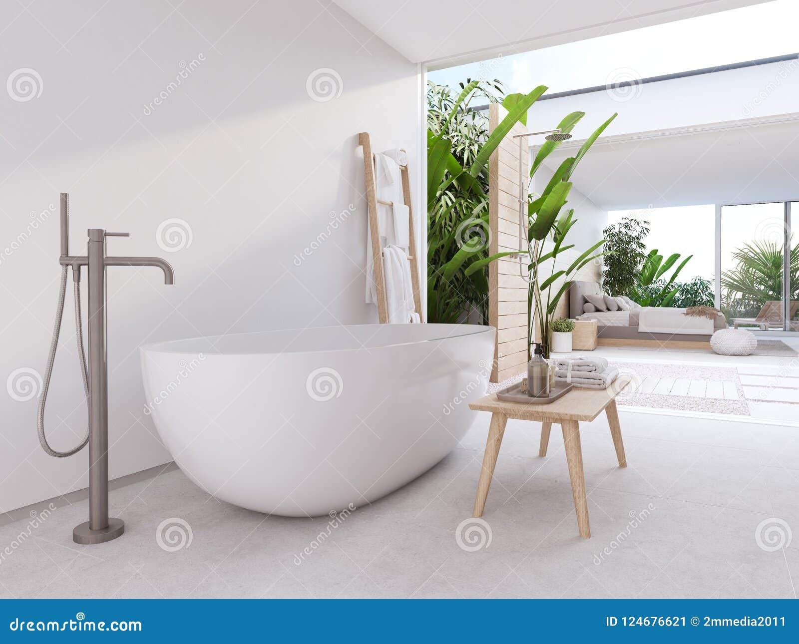 Nouvelle Salle De Bains Moderne De Zen Avec Les Usines Tropicales ...