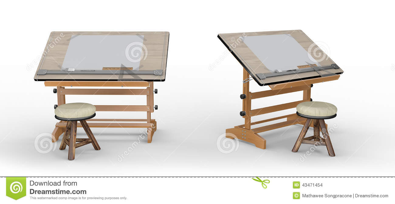 nouvelle table de dessin en bois avec des outils et des. Black Bedroom Furniture Sets. Home Design Ideas