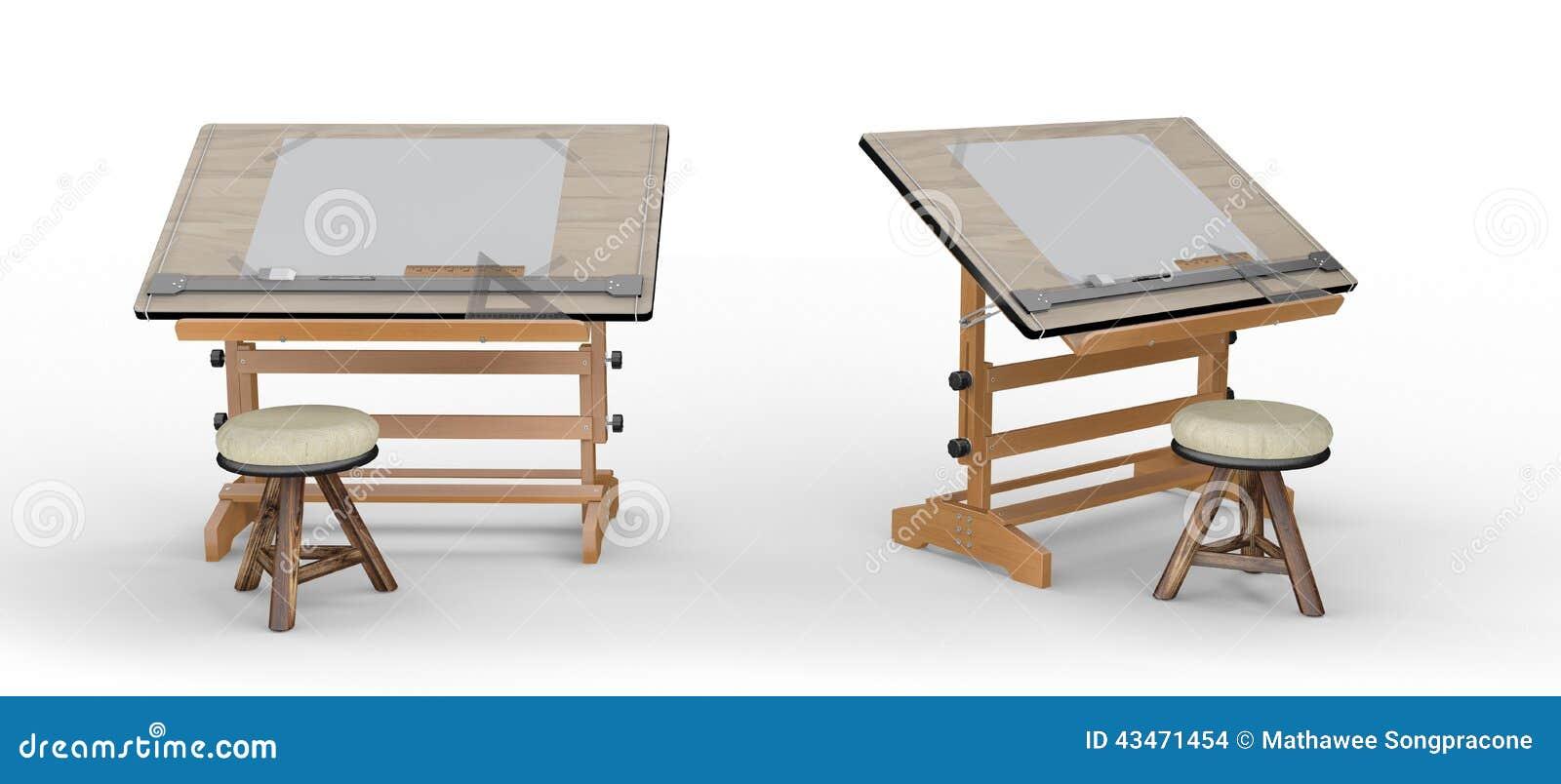 Nouvelle table de dessin en bois avec des outils et des for Table a dessin
