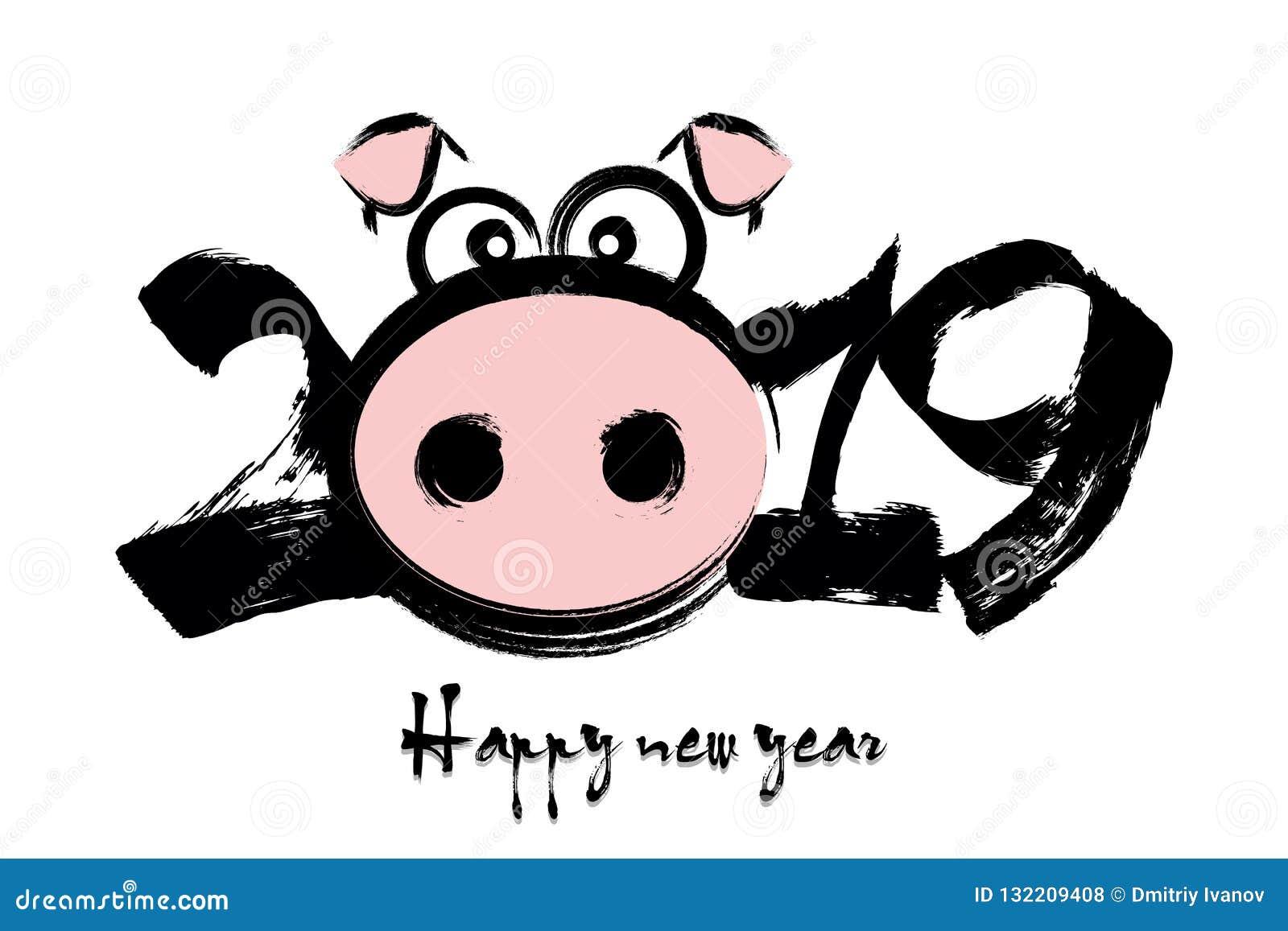 2019 nouvelles années chinoises heureuses du porc