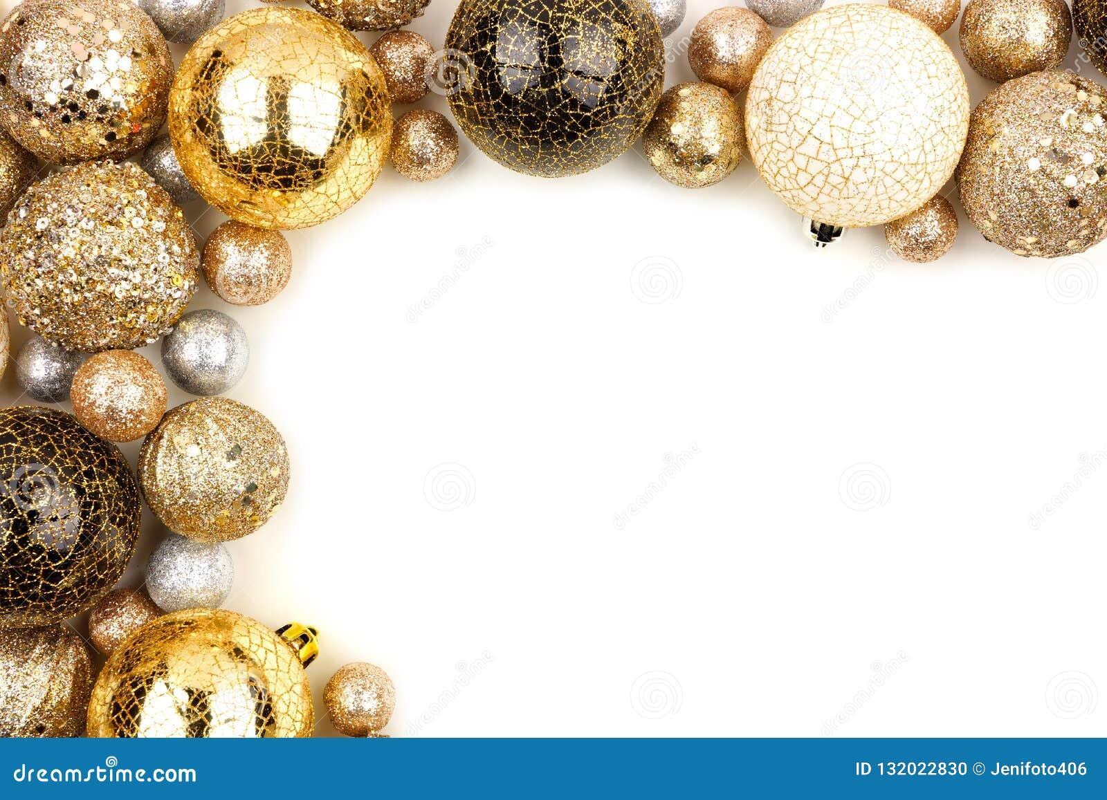 Nouvelles années de frontière faisante le coin d Ève de l or, ornements noirs et blancs au-dessus de blanc