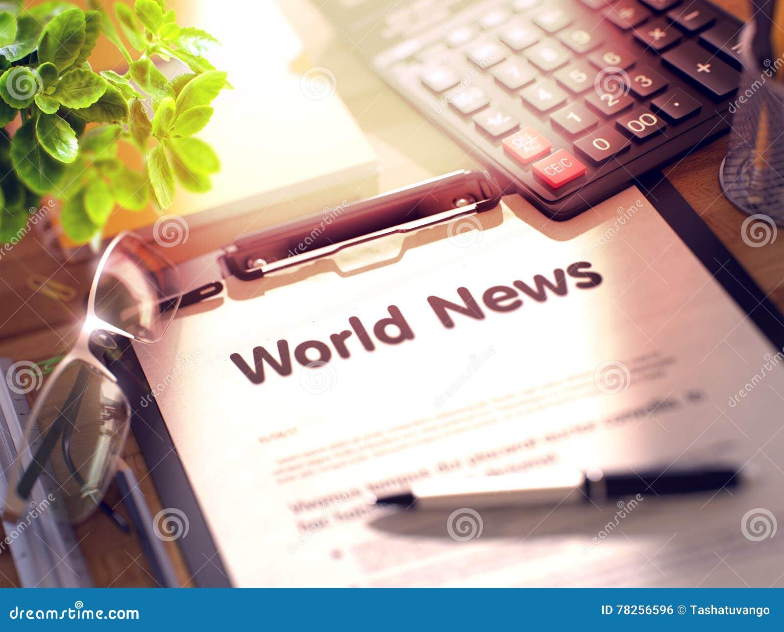 Nouvelles du monde - texte sur le presse-papiers 3d