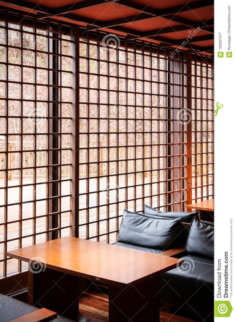 Modern Japanese Living Room Interior Leather Couch Wood