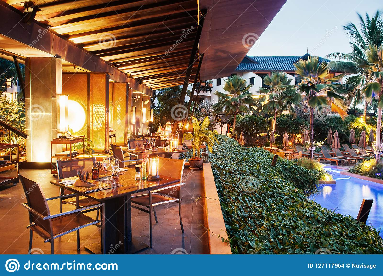 Luxury Resort Restaurant Dinner Table And Seat By The Pool In Tr Editorial Stock Image Image Of Holiday Cloudscape 127117964