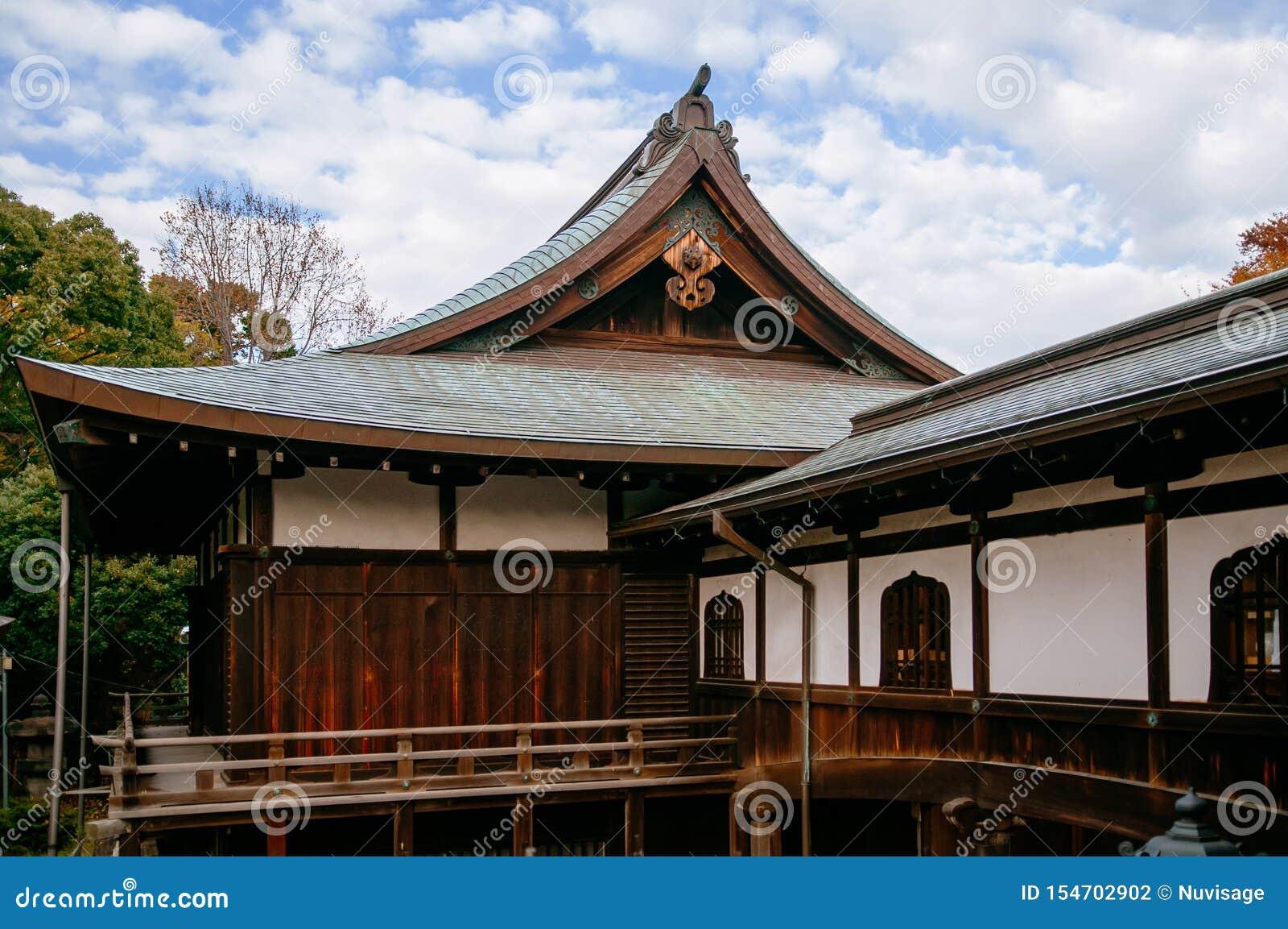 Old wooden building of Kiyomizu Kannon-do shrine in Ueno park, Tokyo