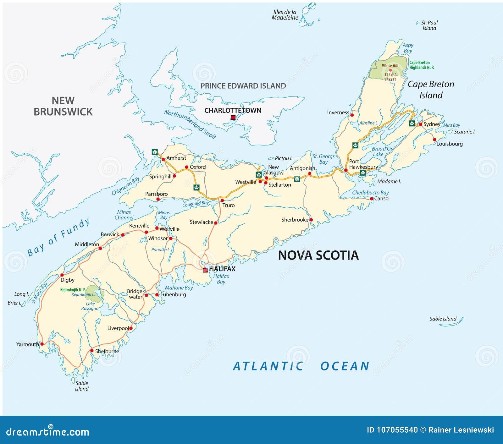 Map Of Canada Nova Scotia.Nova Scotia Road Vector Map Canada Stock Vector Illustration Of